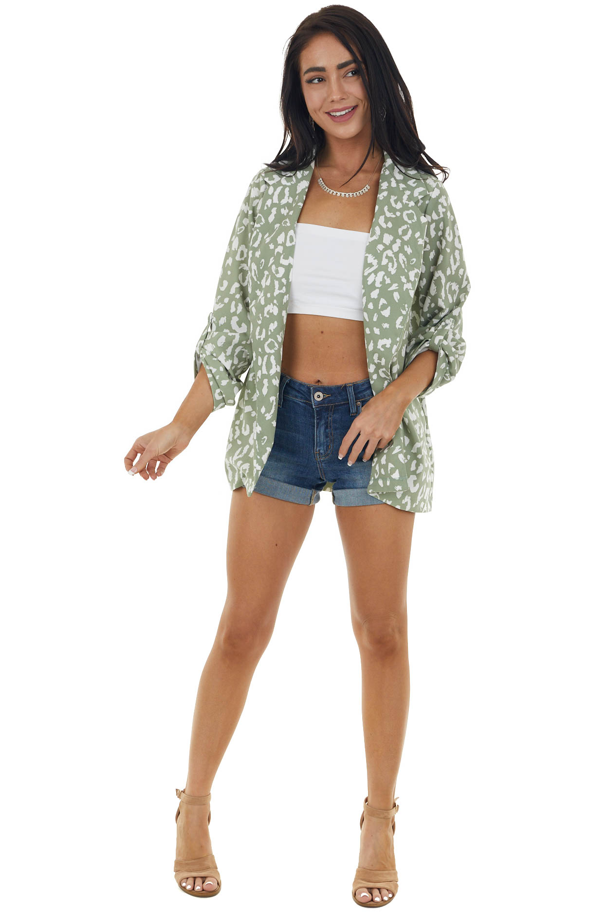 Dark Sage and Pearl Leopard Print Woven Open Front Blazer