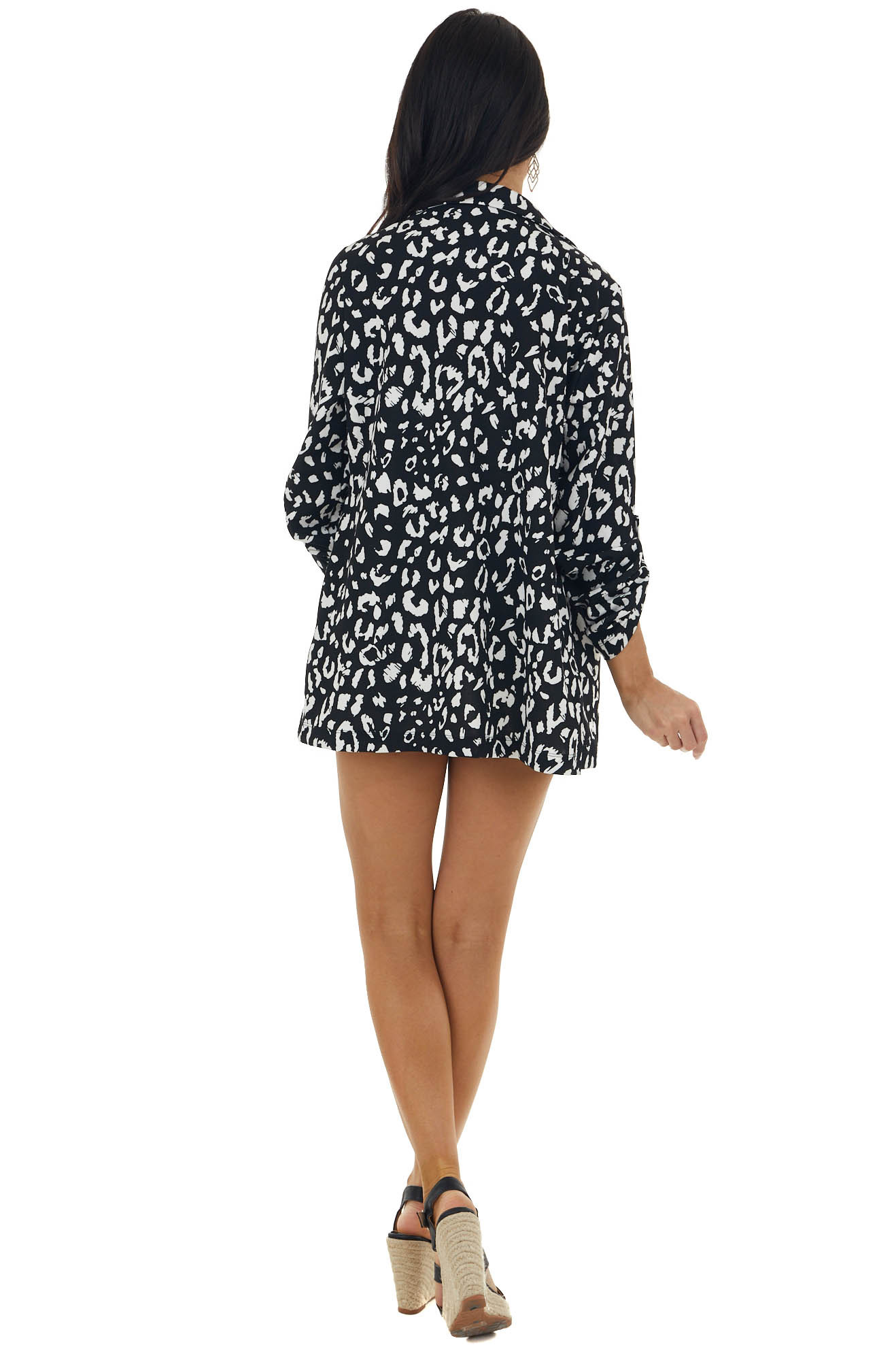 Black and Pearl Leopard Print Woven Open Front Blazer