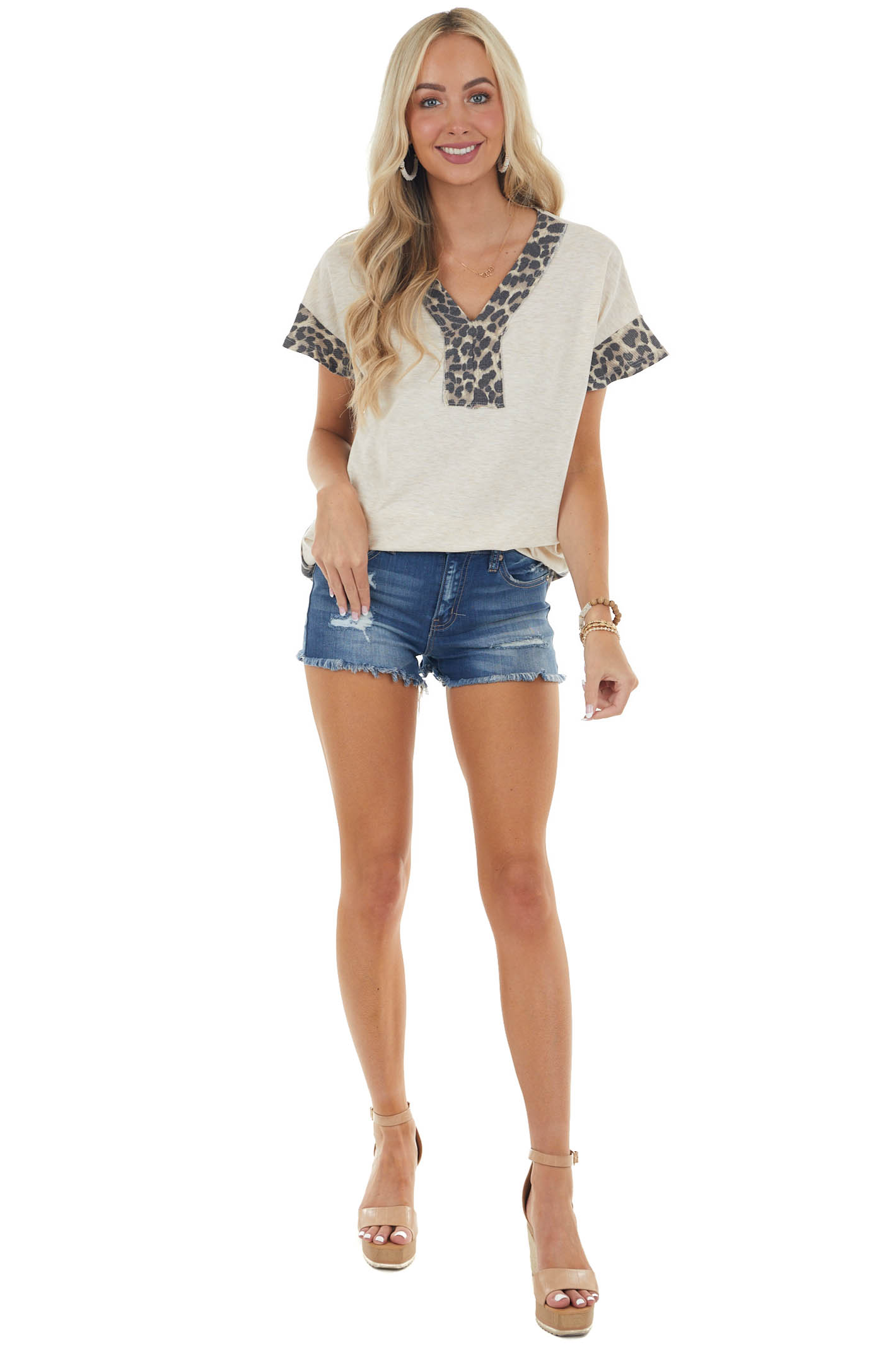 Heathered Beige and Leopard Print Contrast V Neck Knit Top