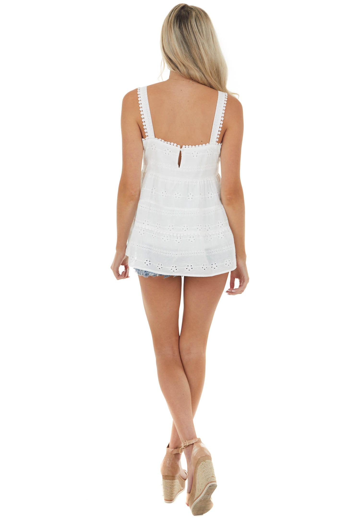 Off White Babydoll Sleeveless Tiered Eyelet Lace Woven Top