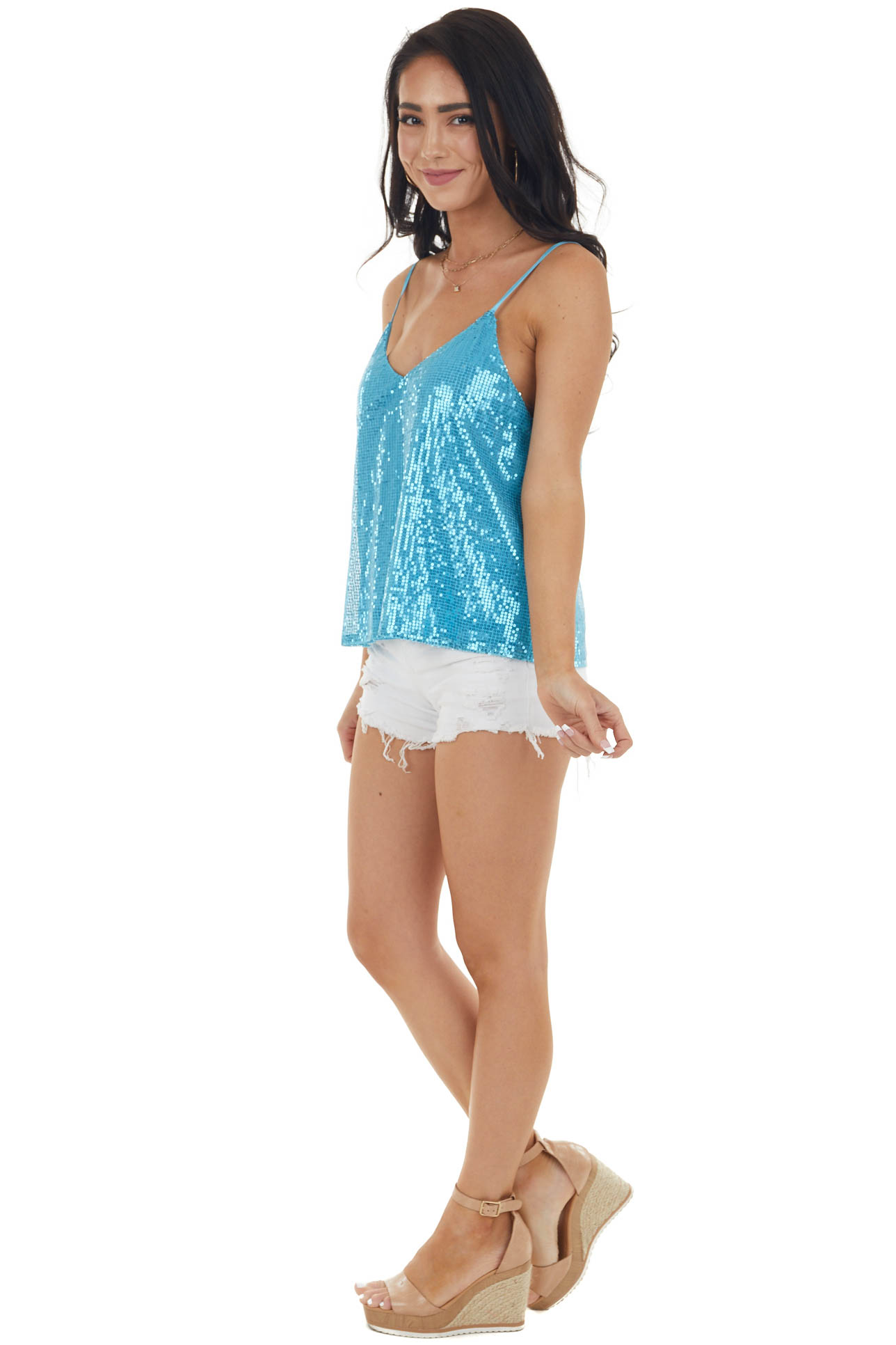 Ocean Blue Sequined Woven Camisole Tank Top with V Neckline
