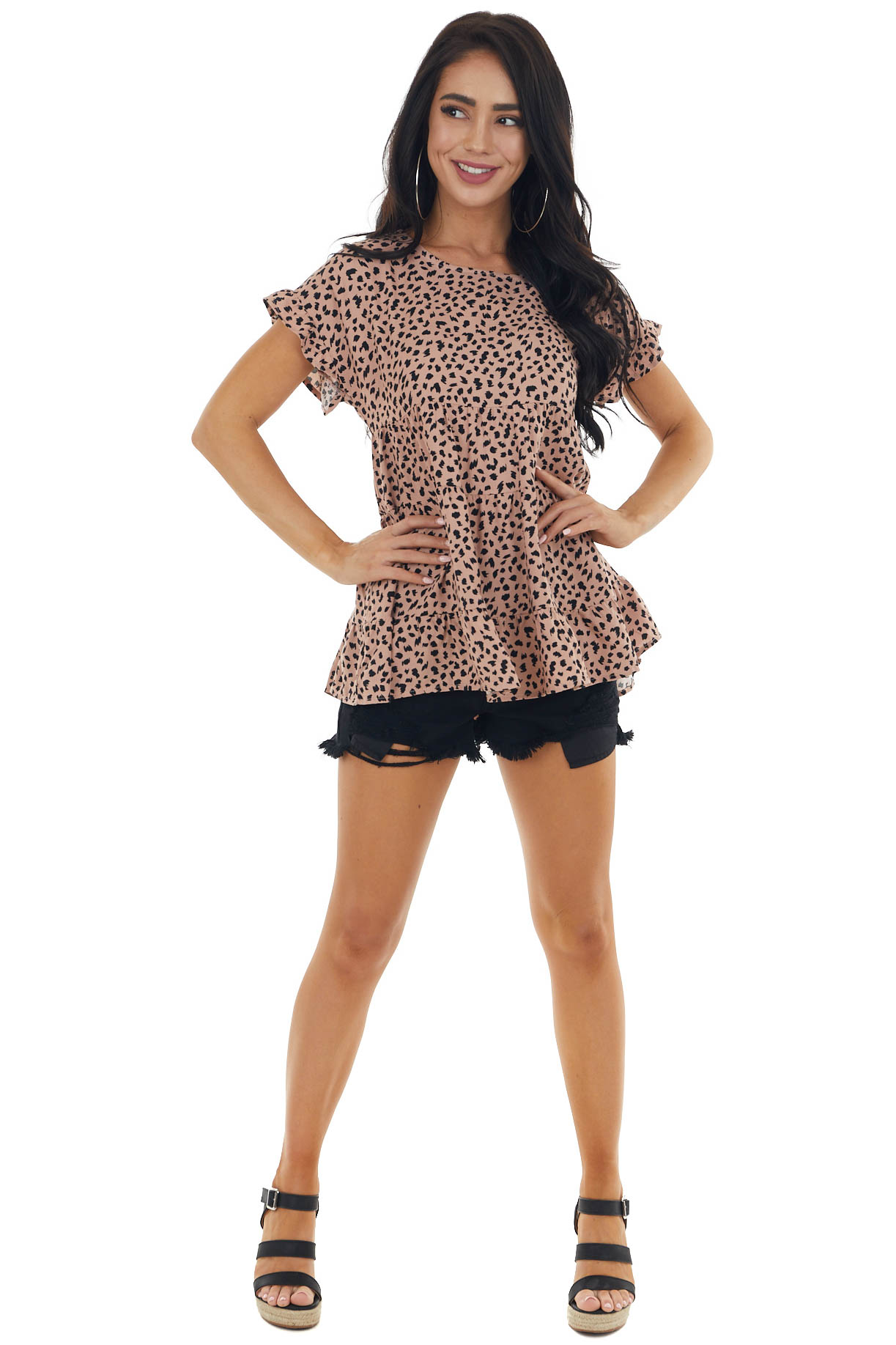 Rose Taupe Cheetah Print Short Sleeve Tiered Flowy Woven Top