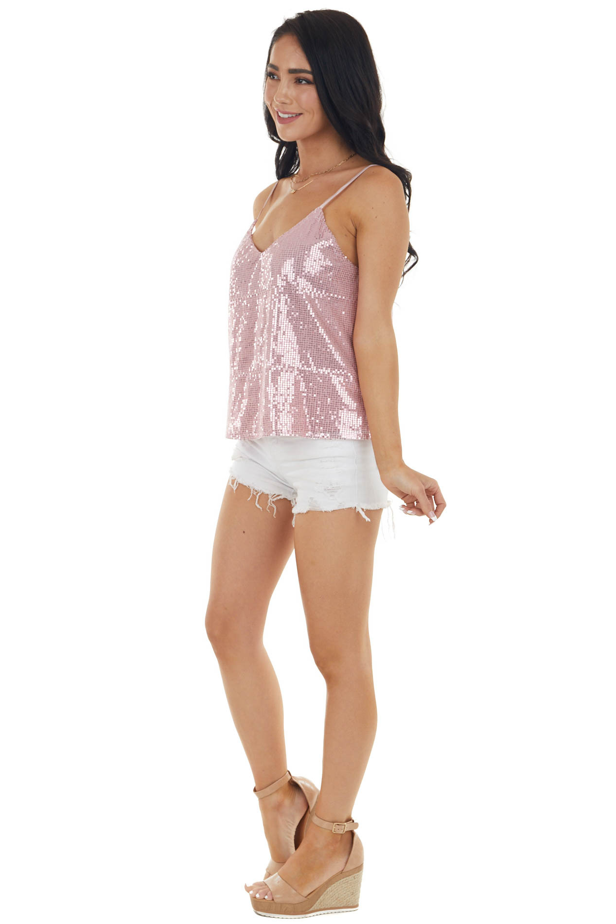 Baby Pink Sequined Woven Camisole Tank Top with V Neckline