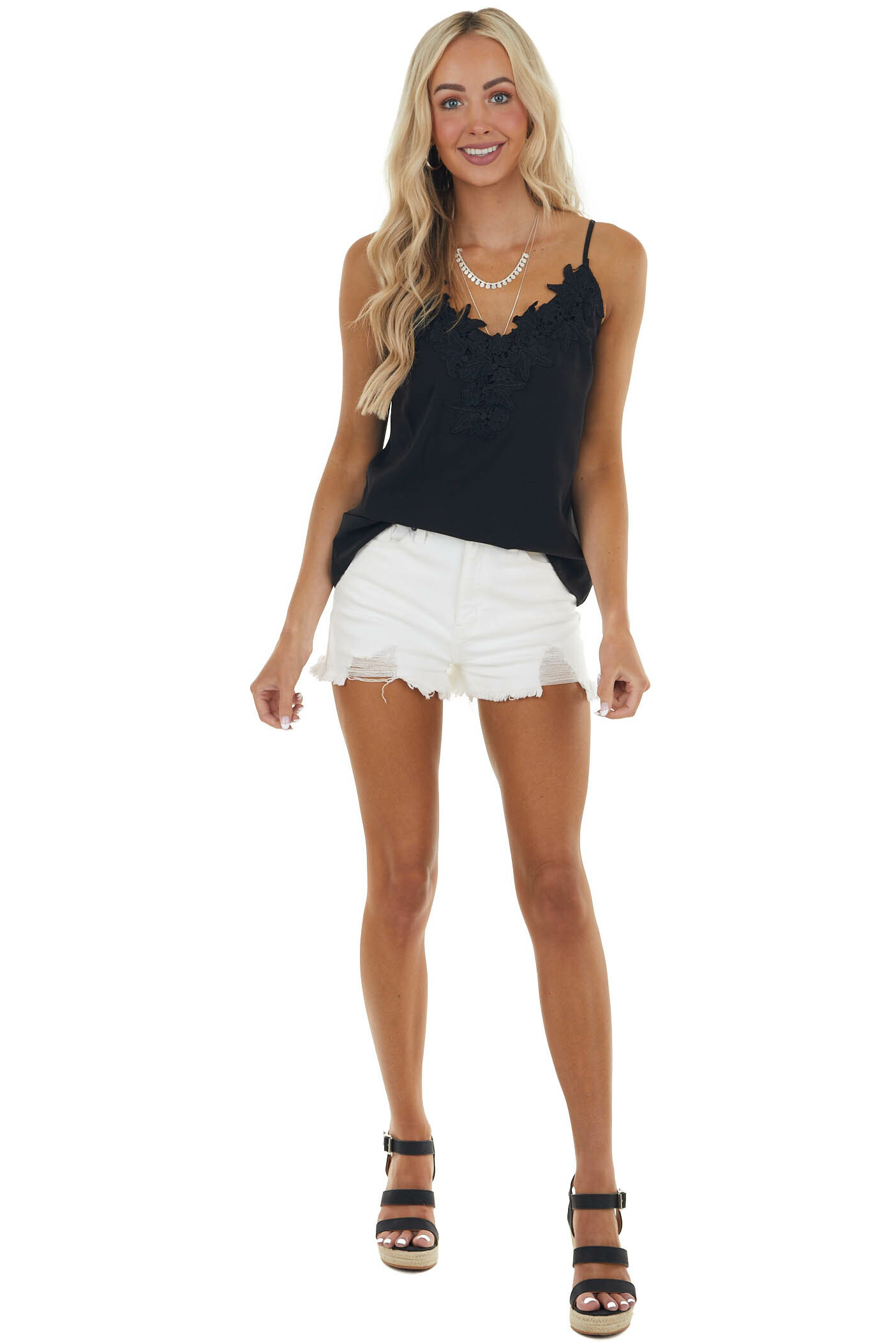 Black Sleeveless Woven Camisole with Floral Lace V Neck