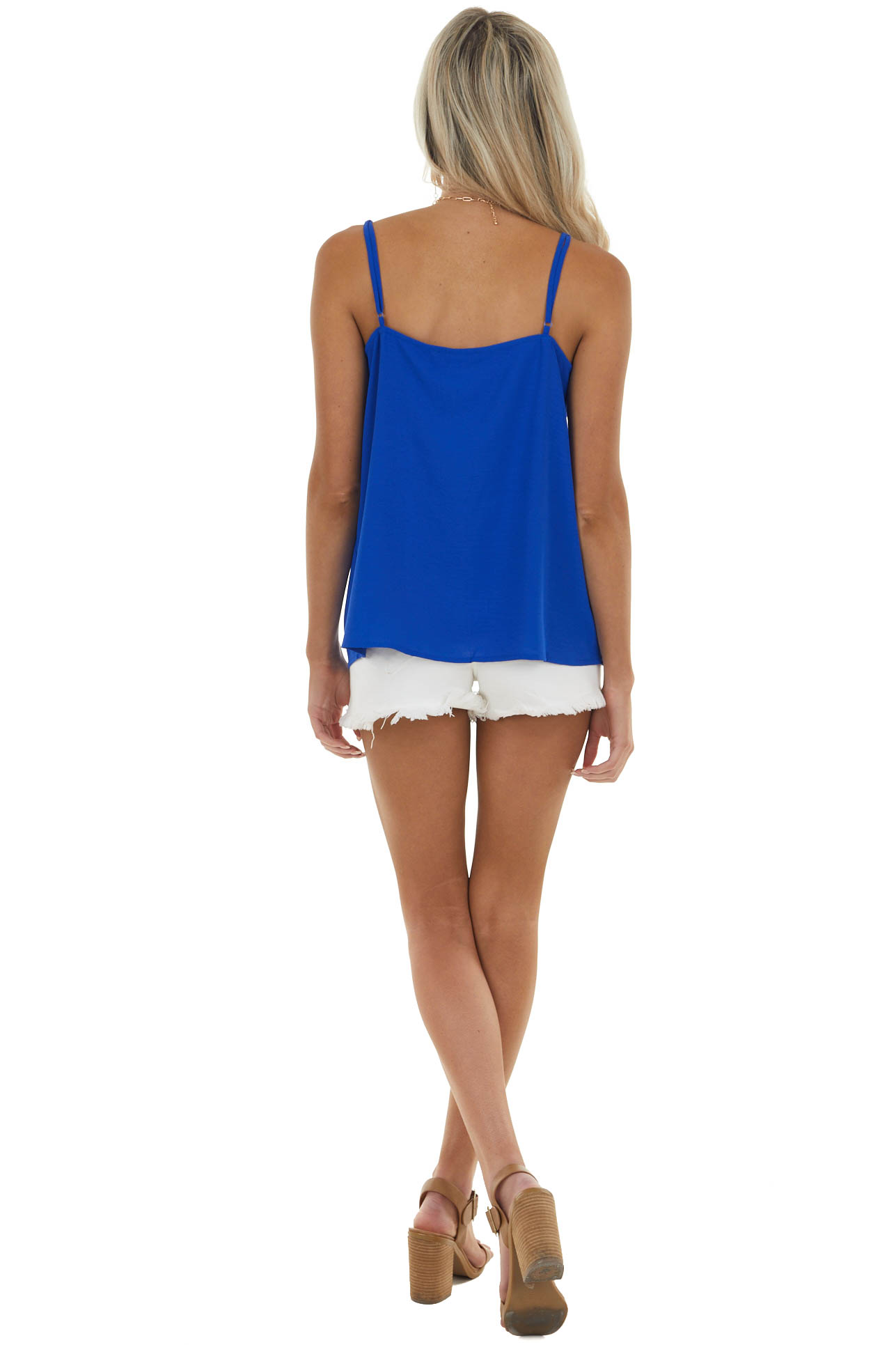 Royal Blue Sleeveless Woven Camisole with Floral Lace V Neck
