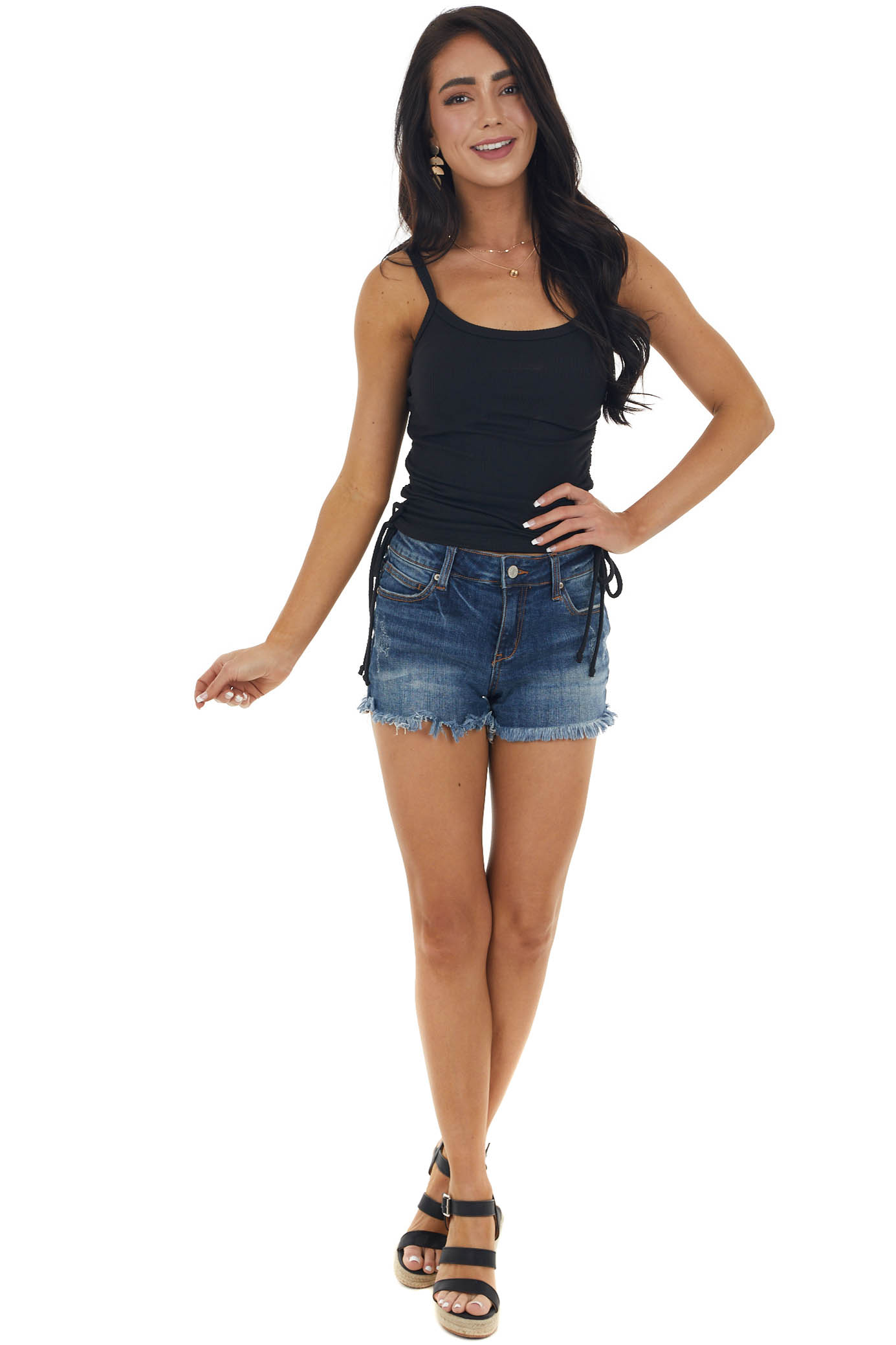 Black Ribbed Cropped Knit Tank Top with Side Ruching Detail