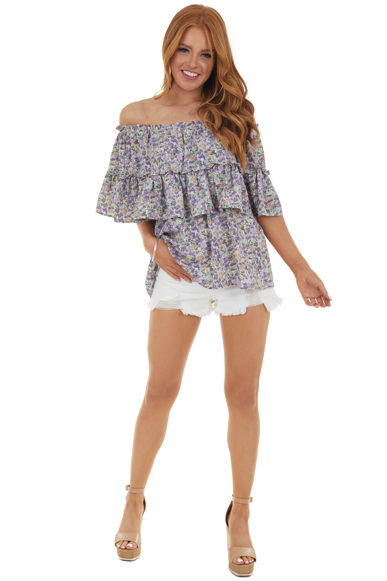 Lavender Floral Print Off the Shoulder Overlaying Woven Top