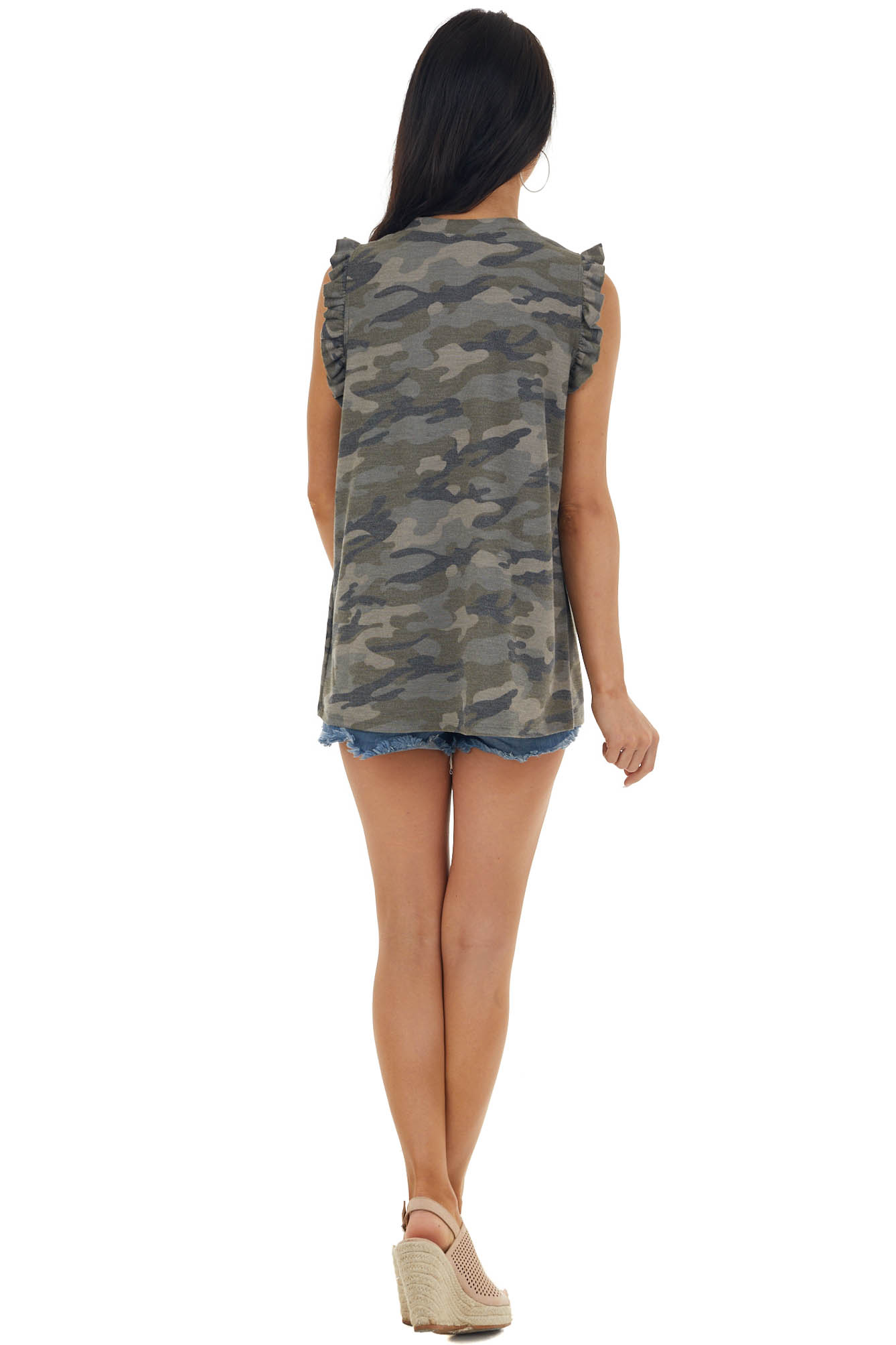 Army Green Camo Print Knit Top with Sequined Skull Graphic
