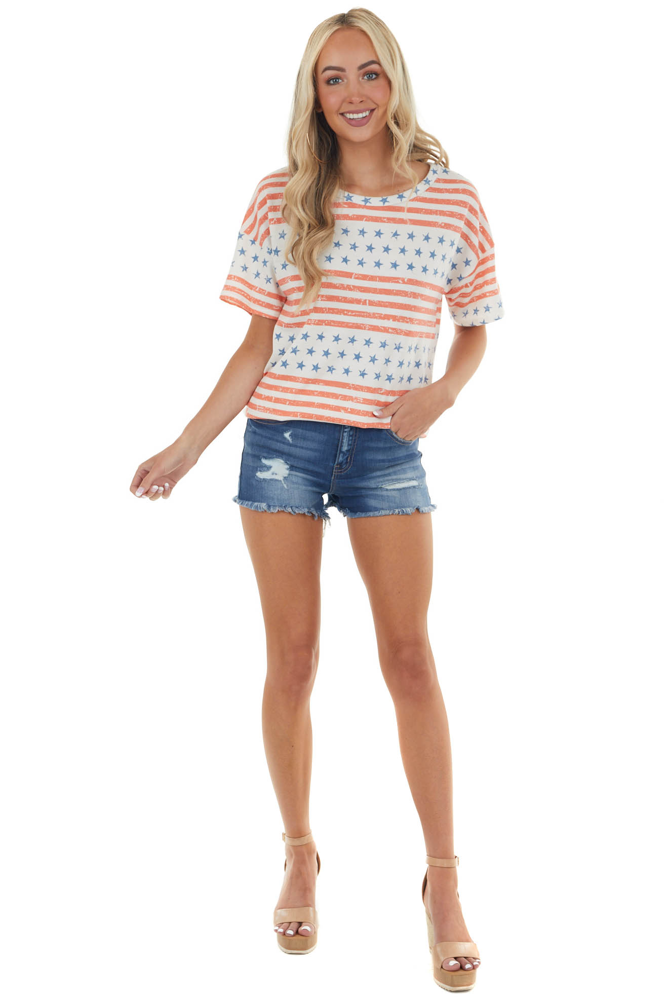 Coral and Powder Blue American Flag Print Soft Knit Top