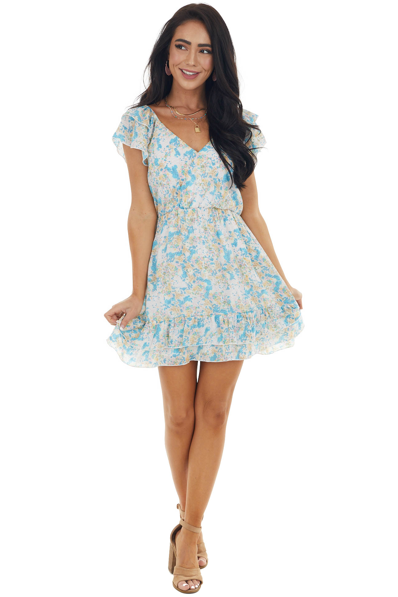 Multicolor Abstract Print Surplice Woven Dress with Ruffles