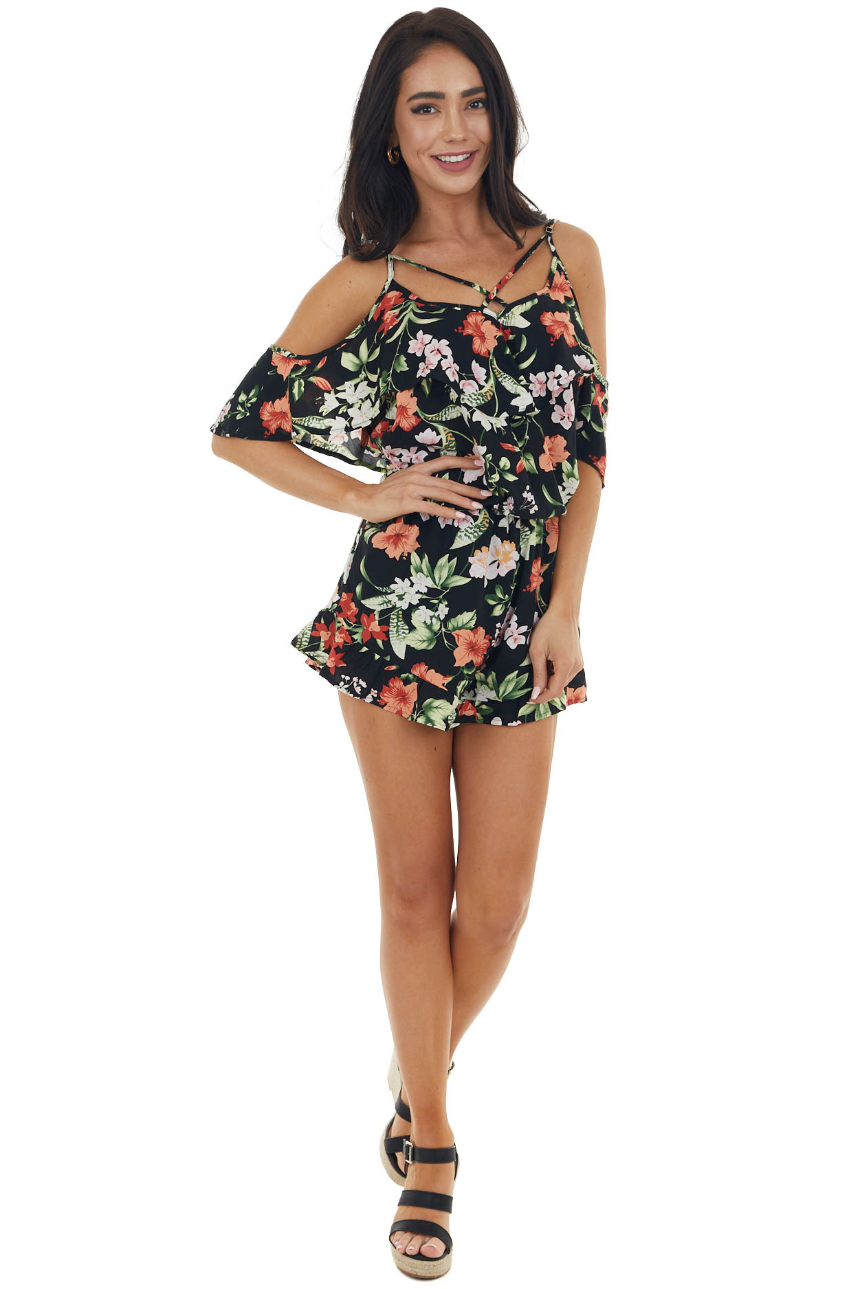 Black Floral Cold Shoulder Woven Romper with Ruffle Overlay