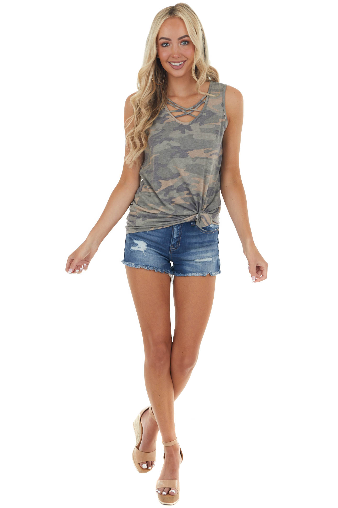 Sage Green Camo Soft Knit Tank Top with Strappy Neckline