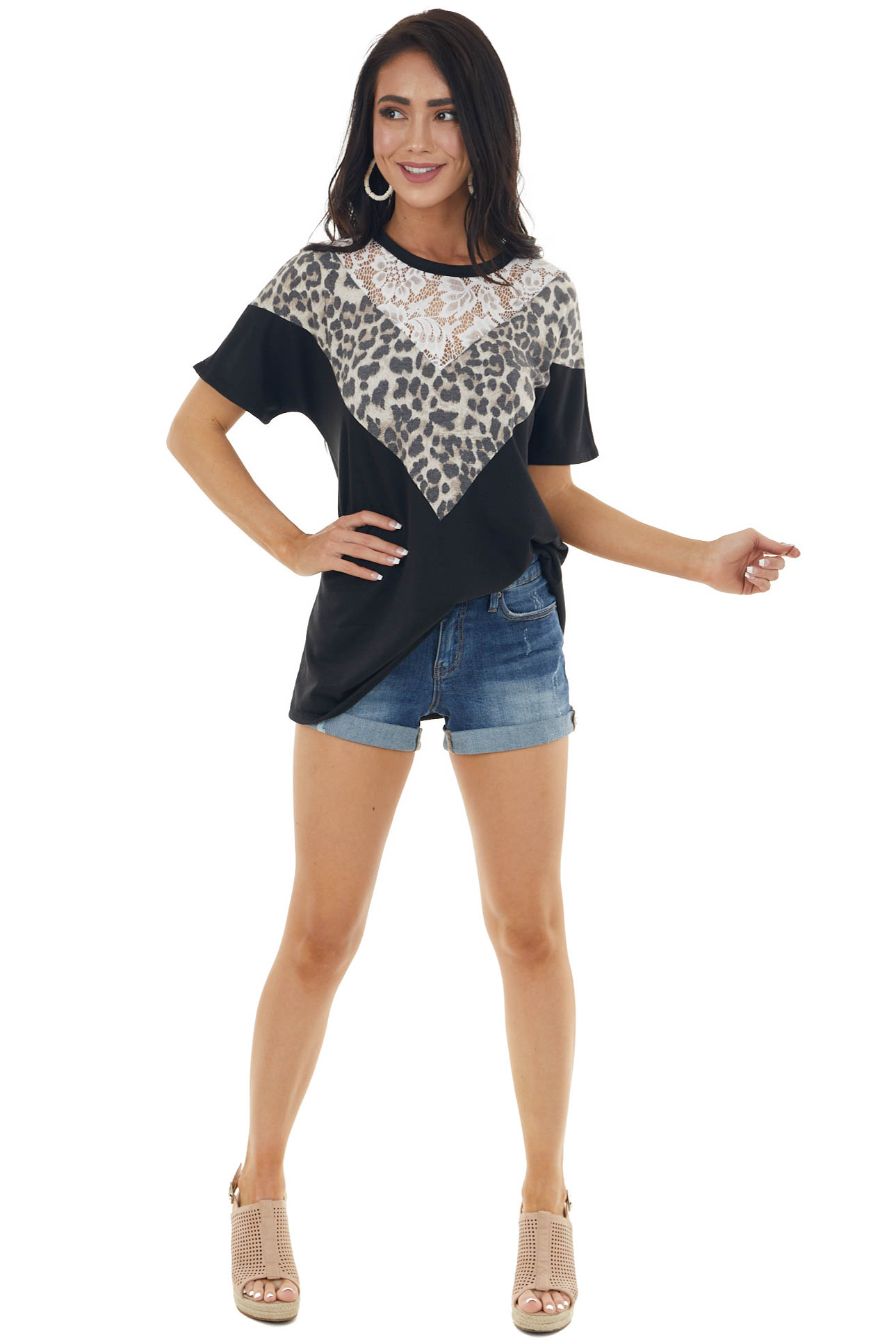 Black Short Sleeve Top with Lace and Leopard Print Neckline