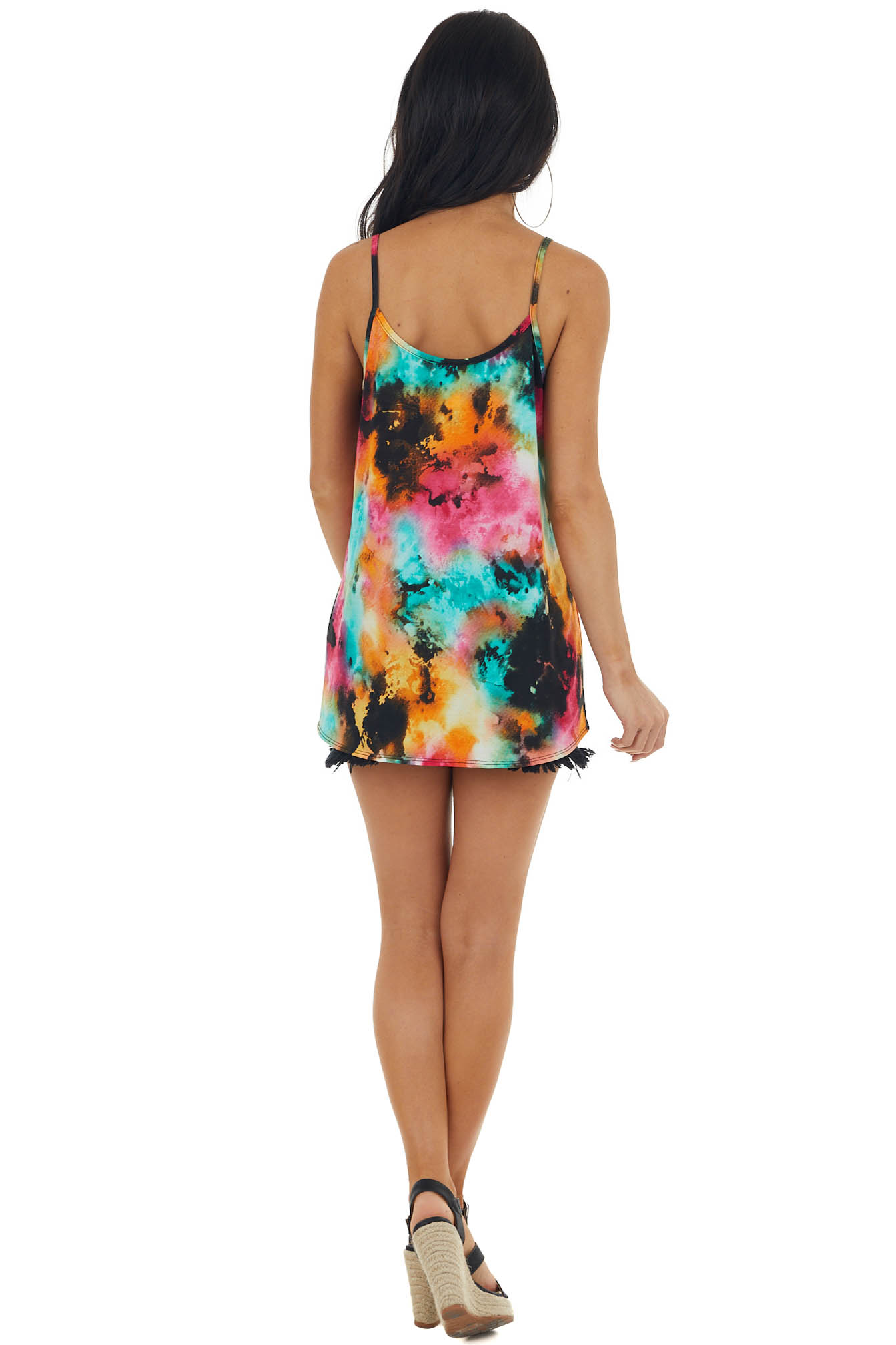 Neon Orange Abstract Tie Dye Tank Top with Strappy Neckline