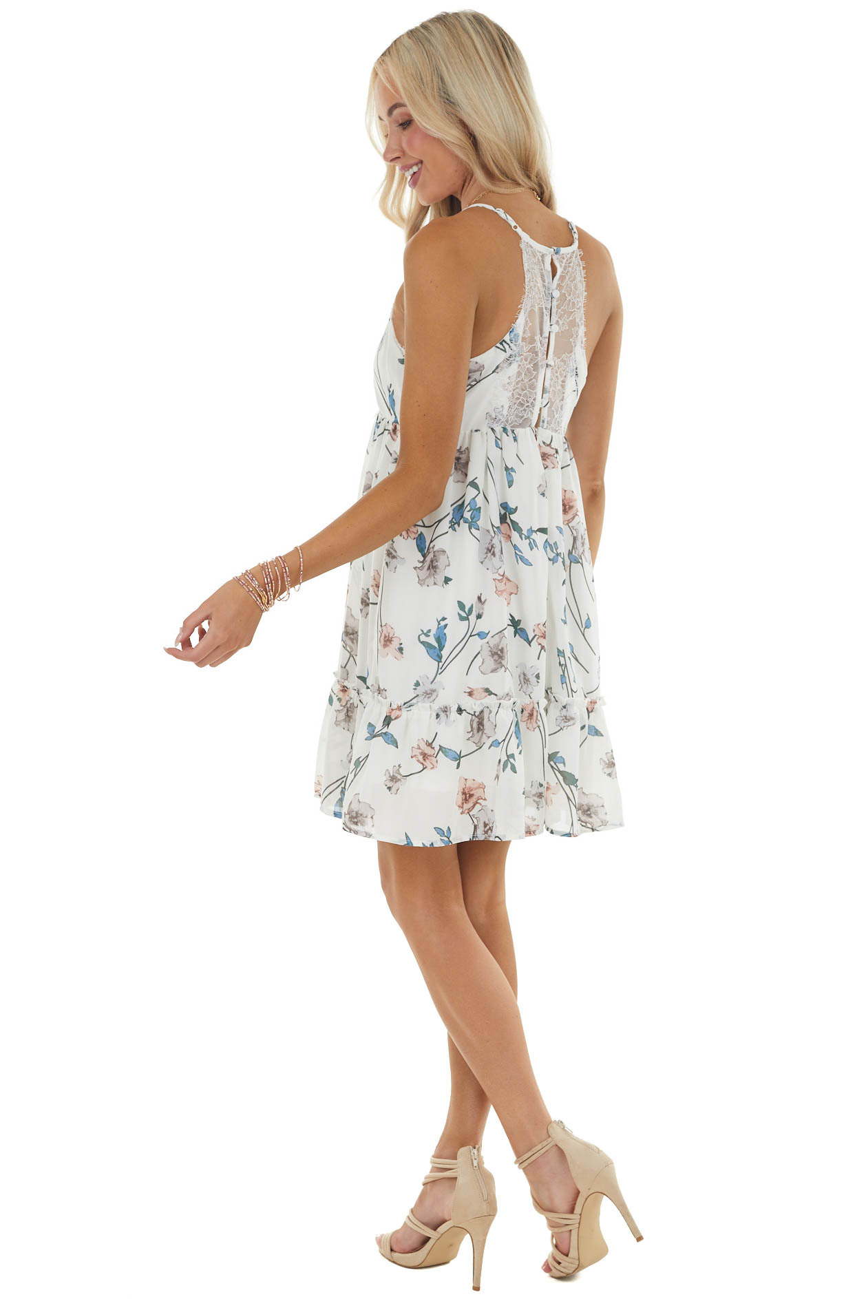 Ivory Floral Print Woven Babydoll Dress with Lace Details
