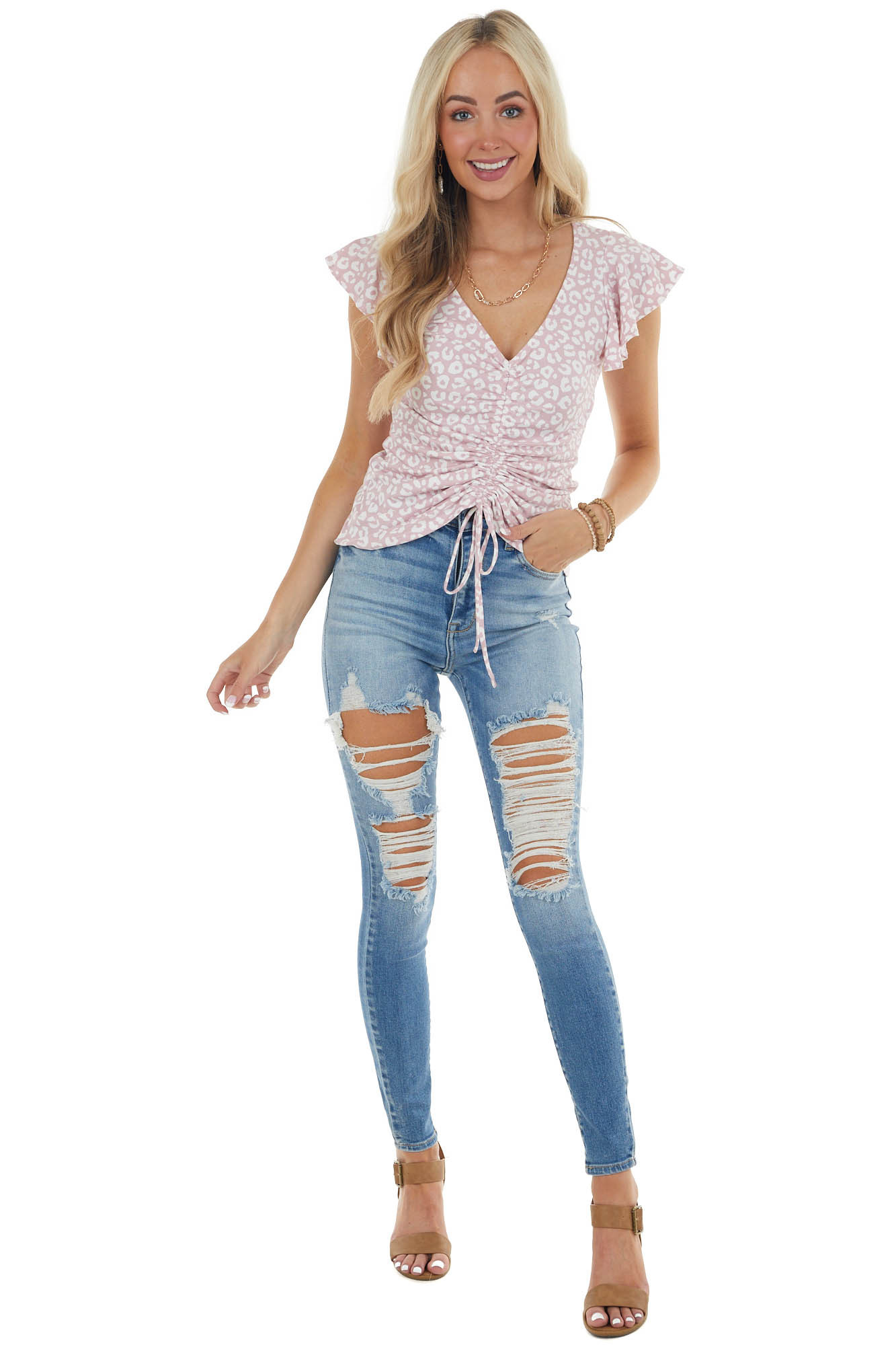 Dusty Blush Leopard Print Ruched Flutter Sleeve Knit Top