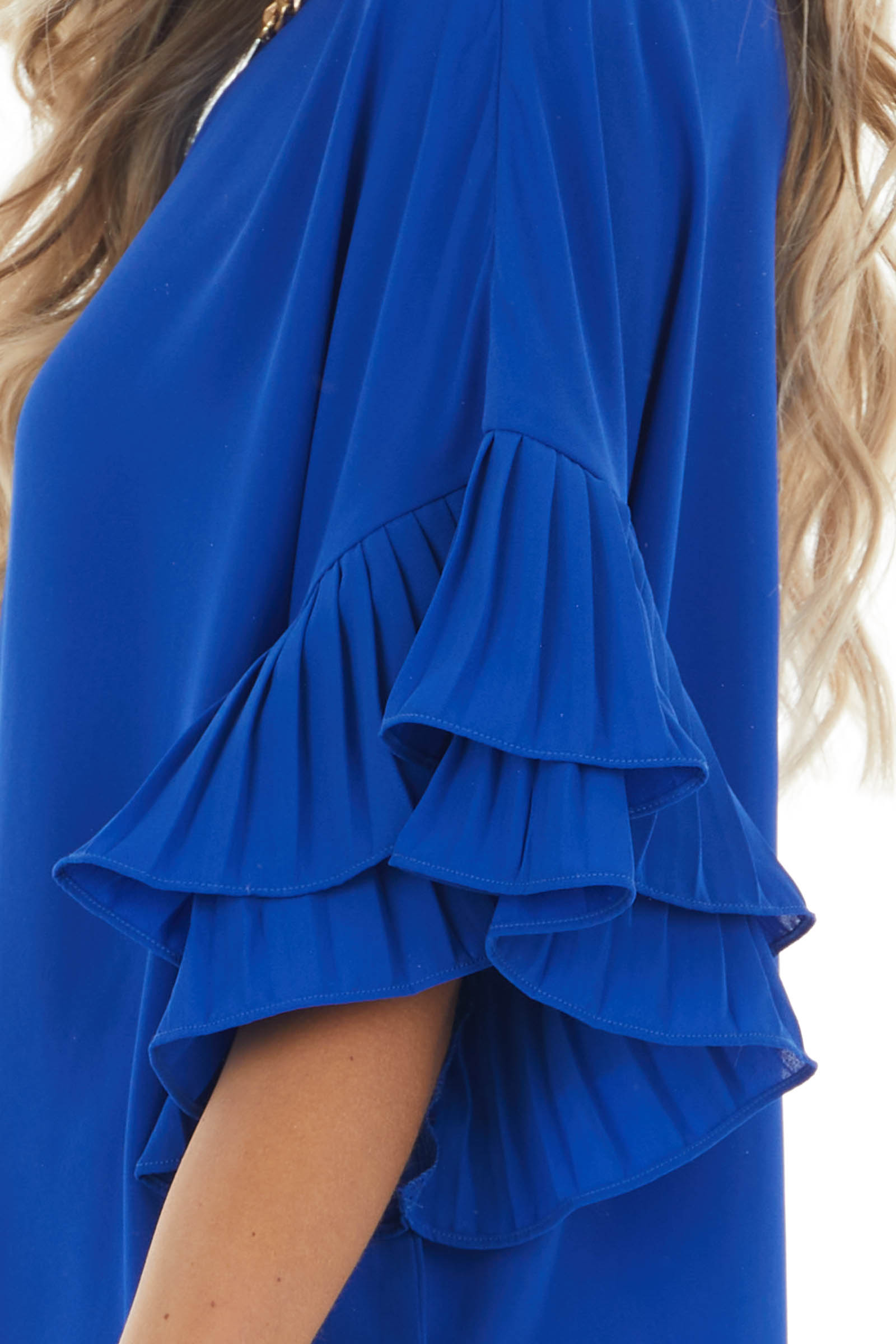 Catalina Blue Loose Fit Blouse with Pleated Ruffle Sleeves
