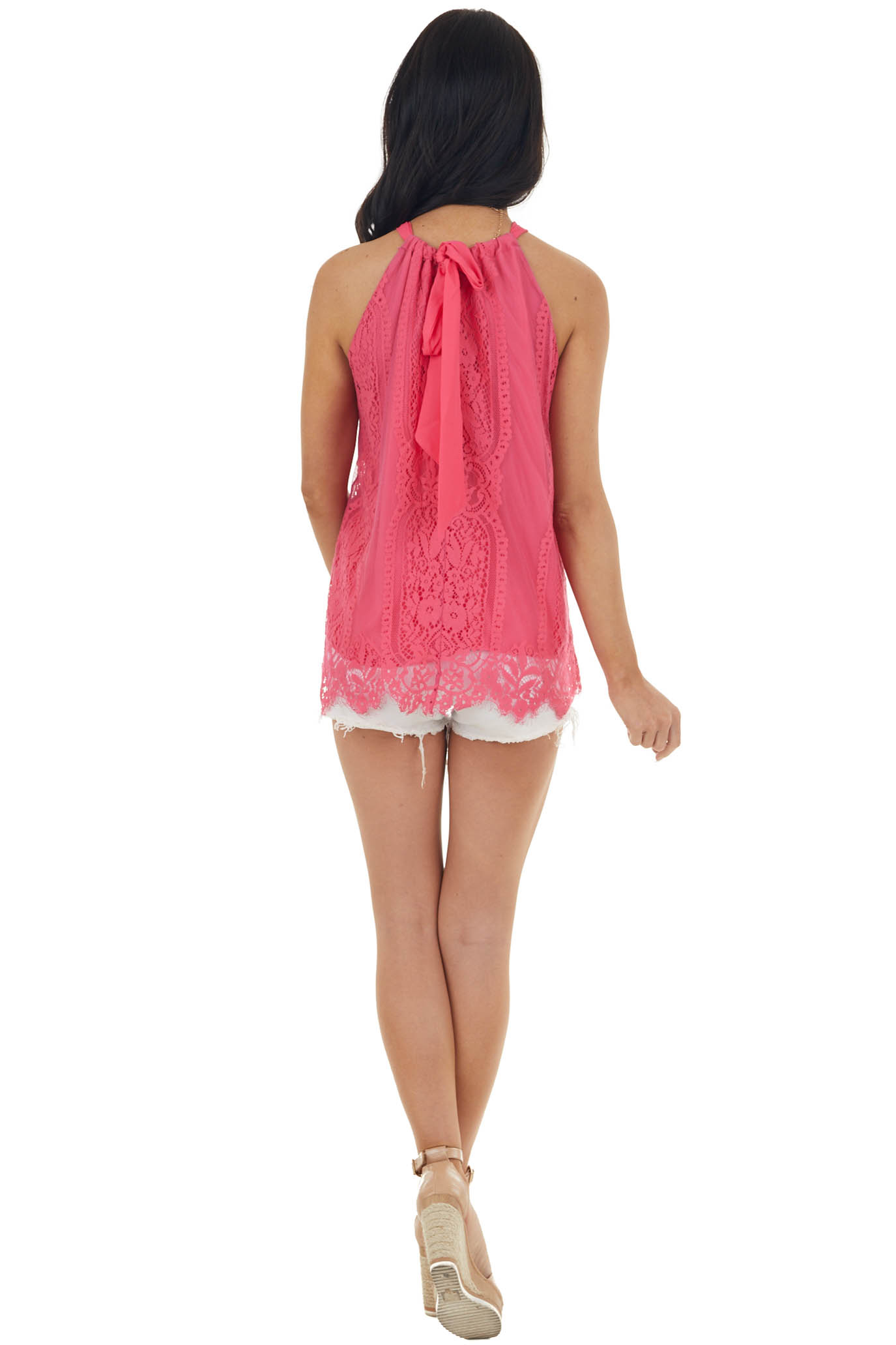 Hot Pink Lace Tied Halter Neckline Sleeveless Woven Top