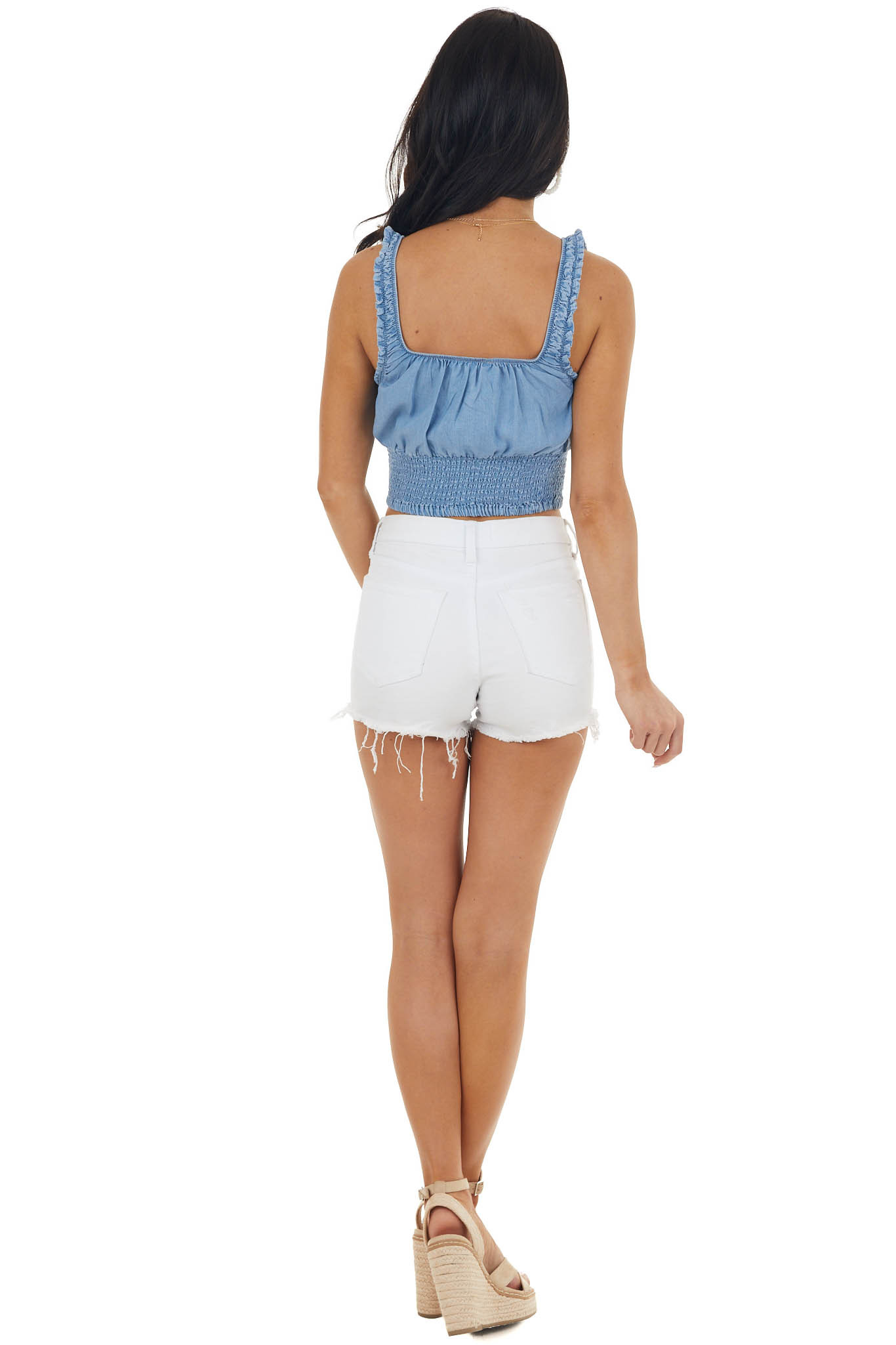 Medium Wash Chambray Smocked Crop Woven Tank Top with Tie