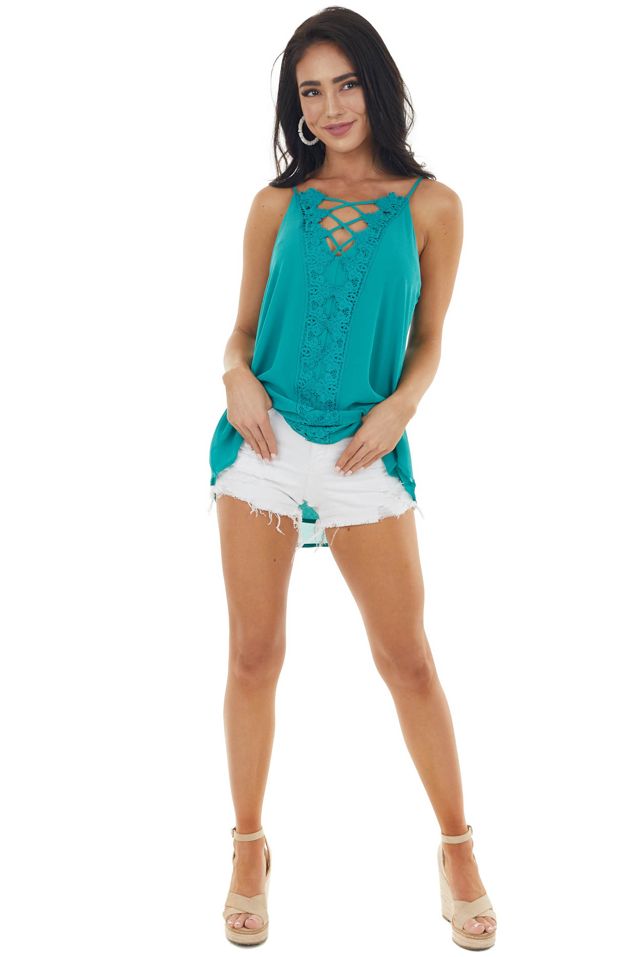 Juniper Plunging V Neck Top with Scalloped Lace Detail