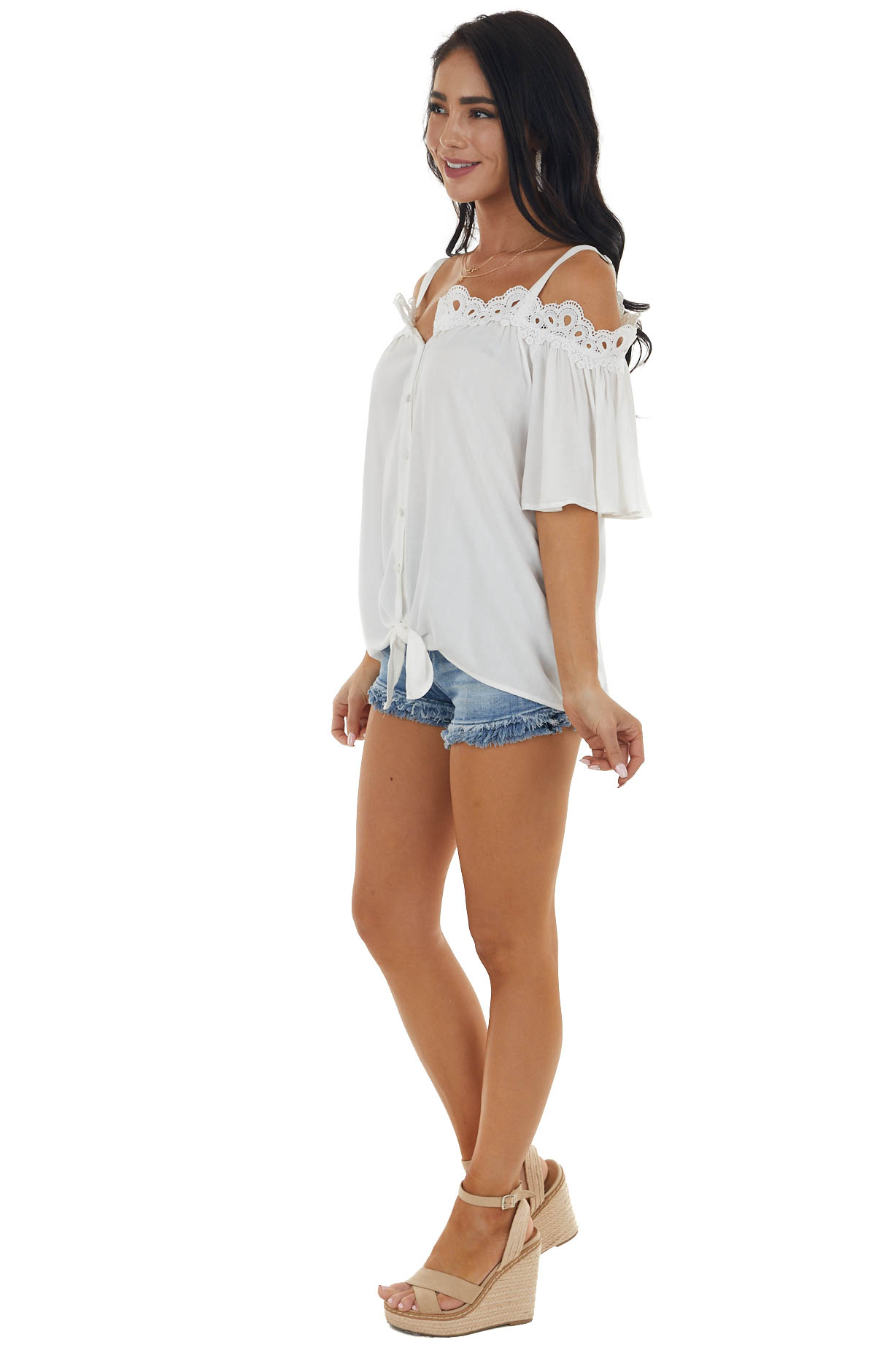 Ivory Cold Shoulder Button Up Blouse with Lace Neck