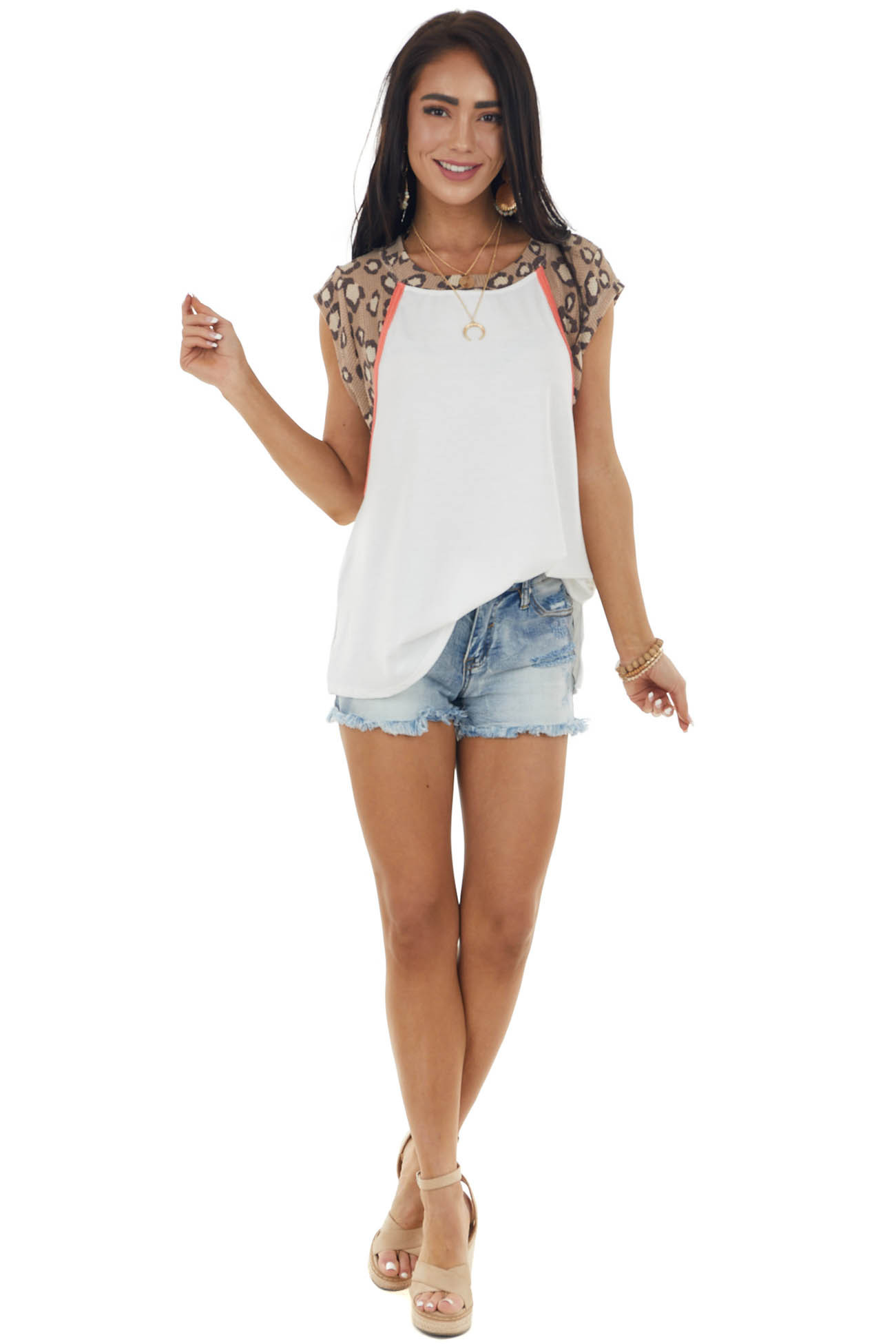 Ivory Cap Sleeve Stretchy Knit Top with Leopard Contrast