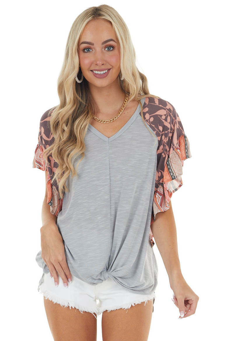 Slate Grey Multiprint Flutter Sleeve Top with Front Twist