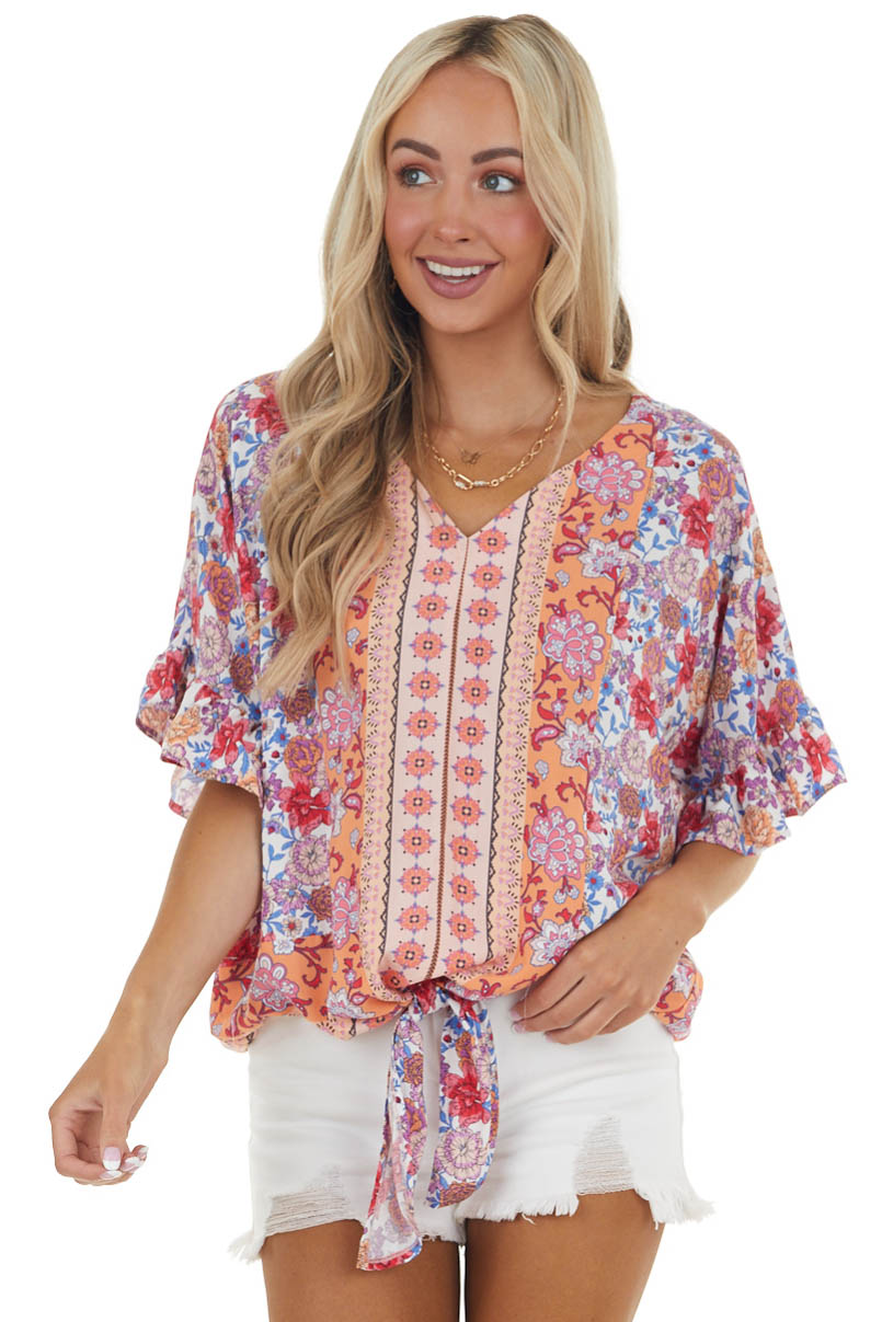 Crimson and Peach Floral Print Woven Top with Front Tie