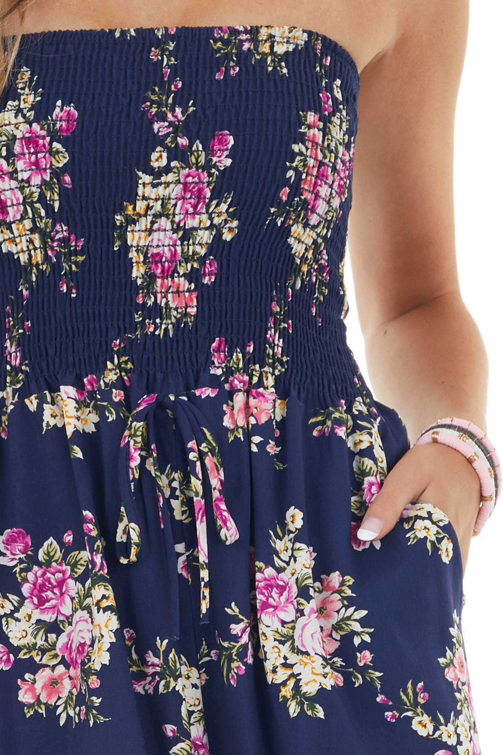 Navy Floral Bandeau Romper with Front Tie Detail