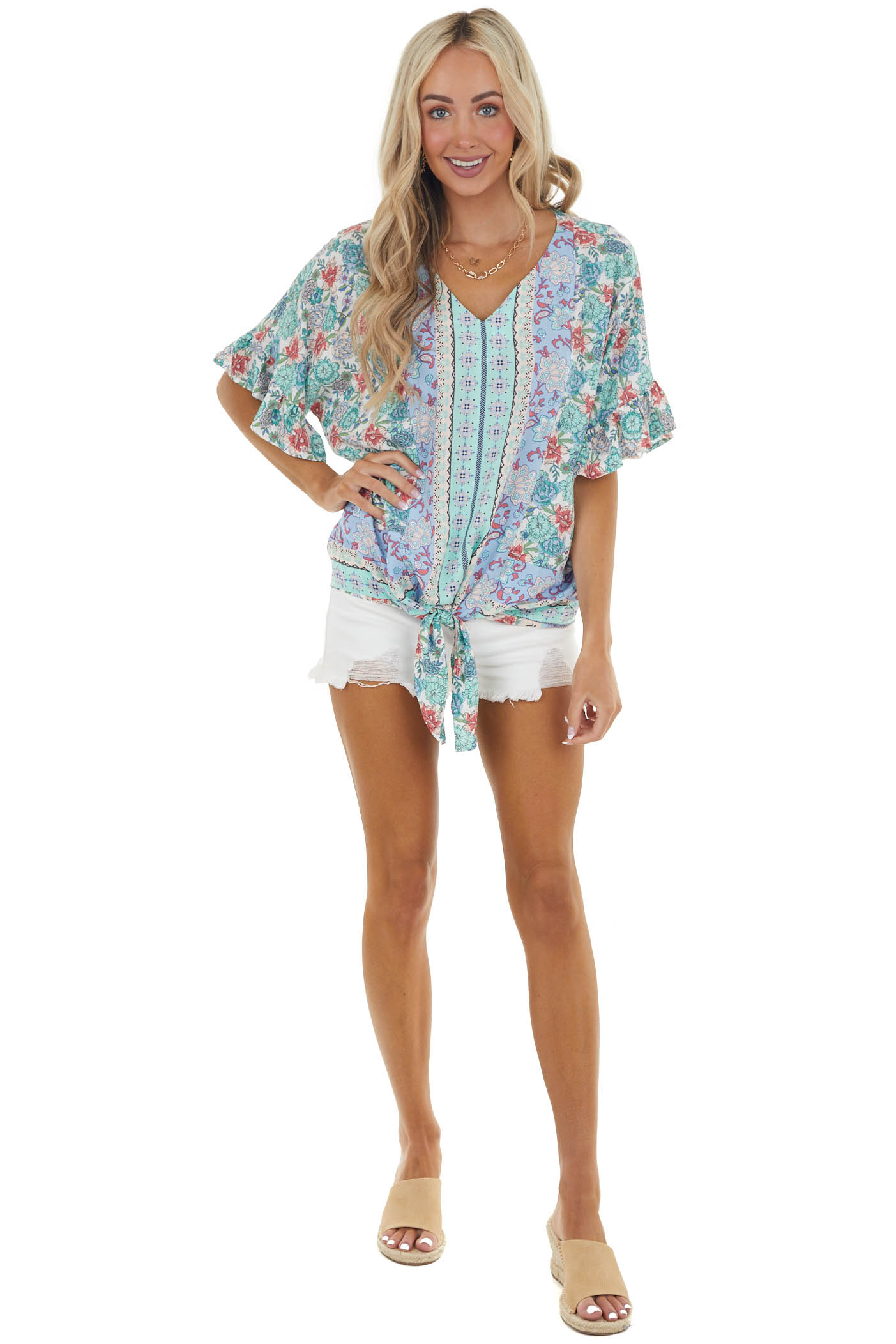 Turquoise and Sky Blue Floral Print Woven Top with Front Tie