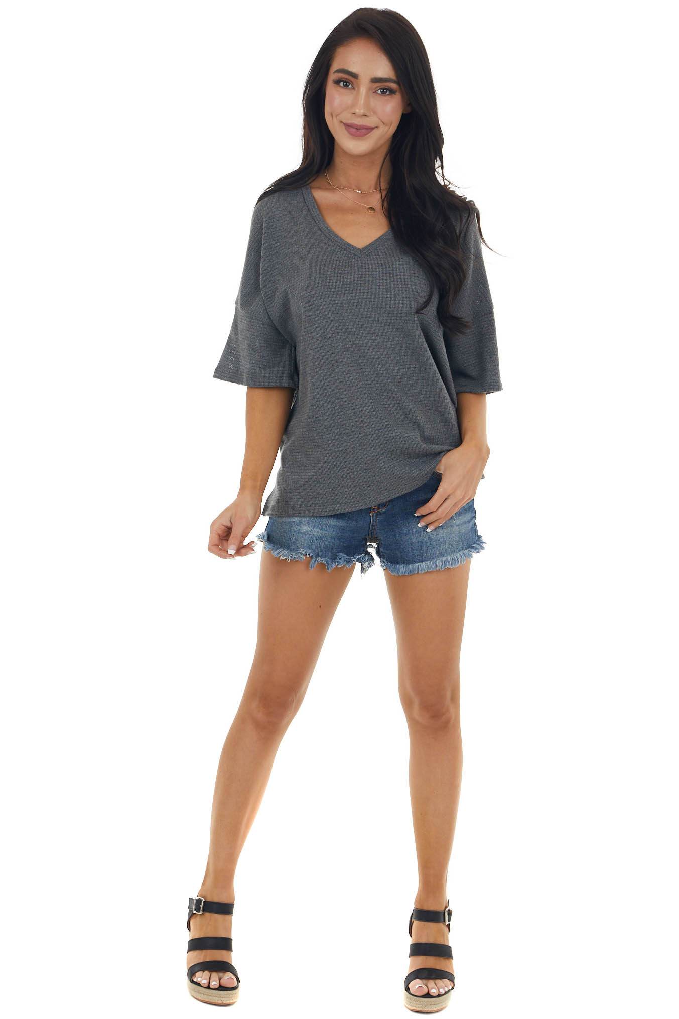 Charcoal Drop Shoulder Stretchy Knit Top with Crochet Detail