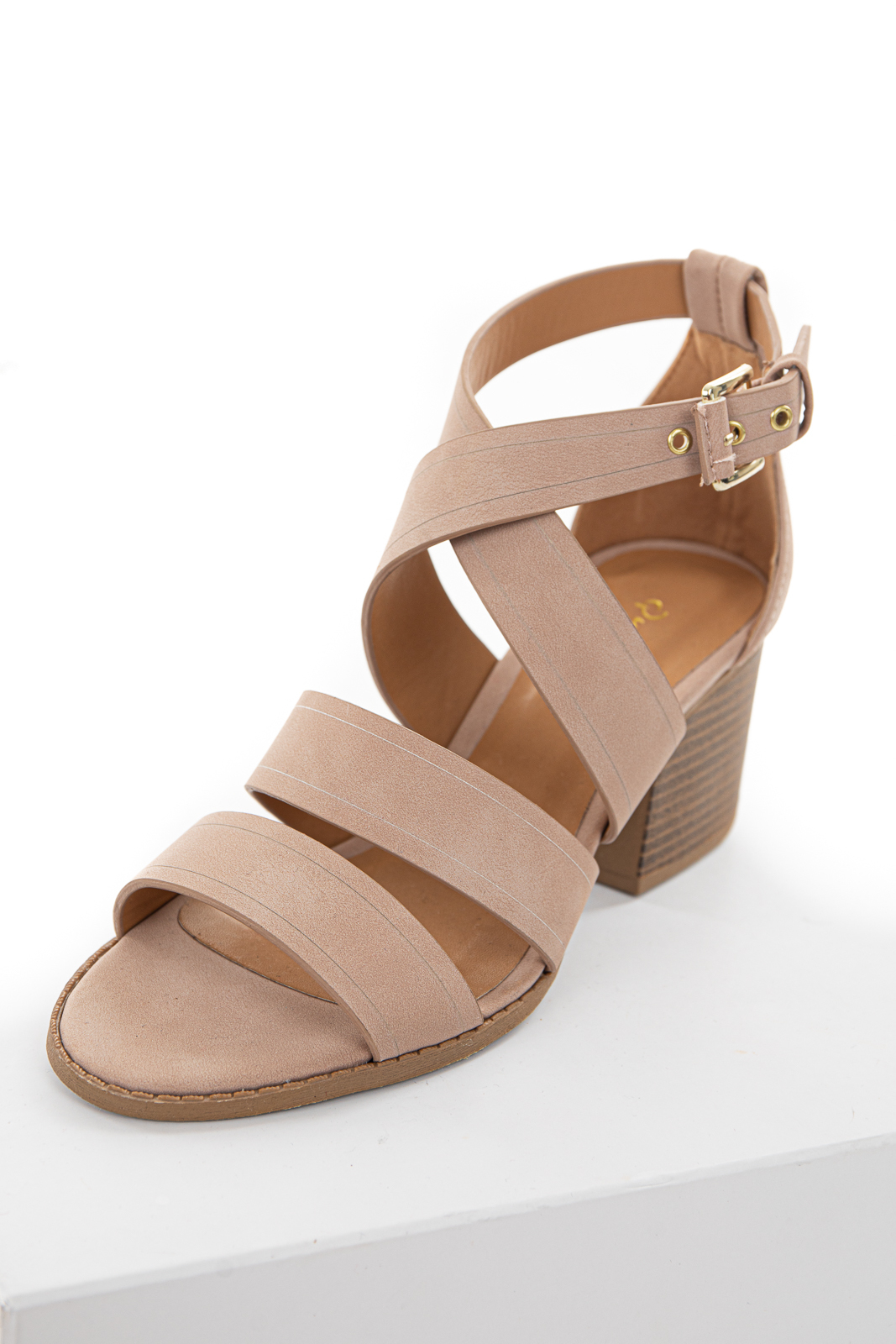 Light Rose Taupe Chunky Strapped Block Heels with Buckle