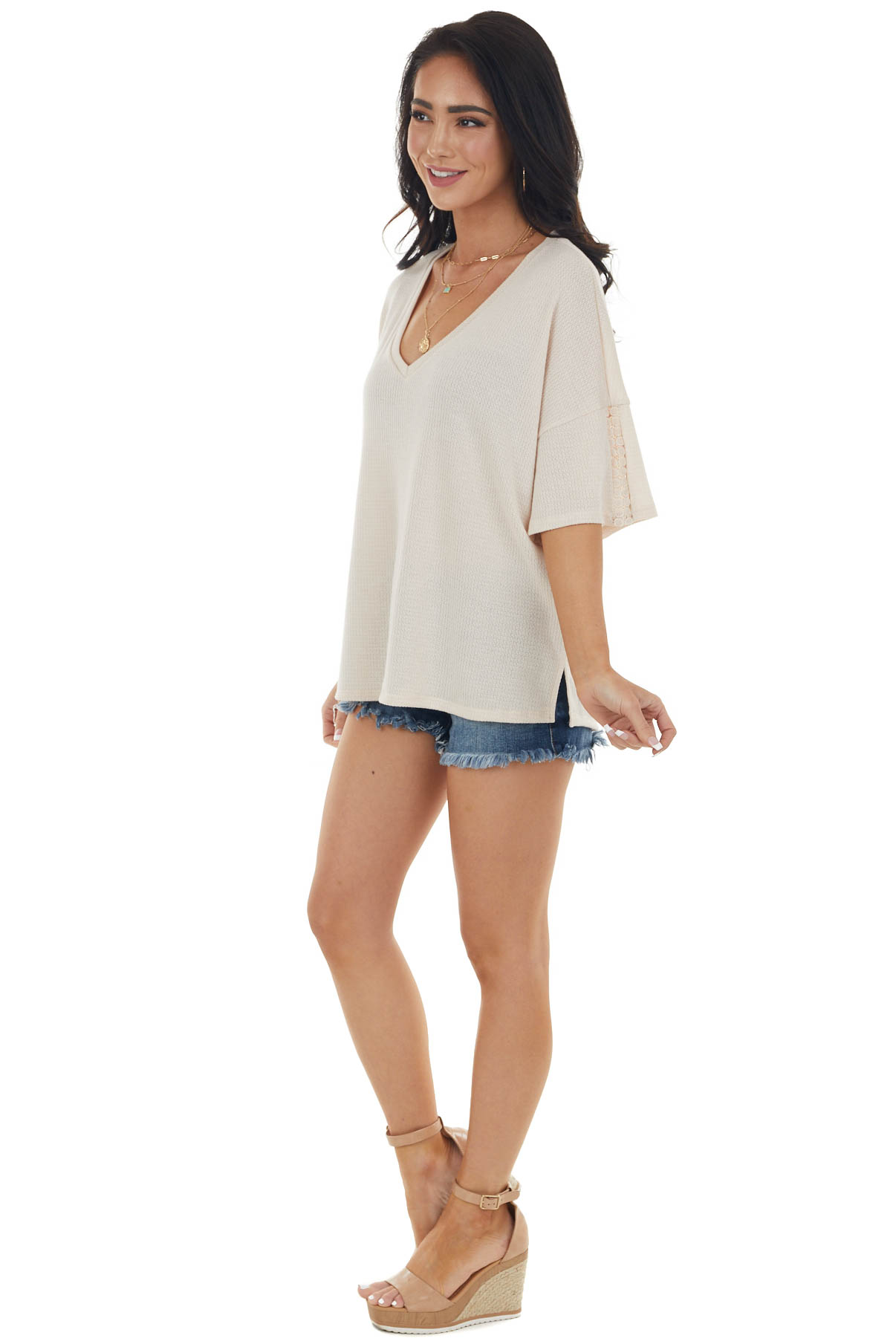 Champagne Drop Shoulder Knit Top with Crochet Detail