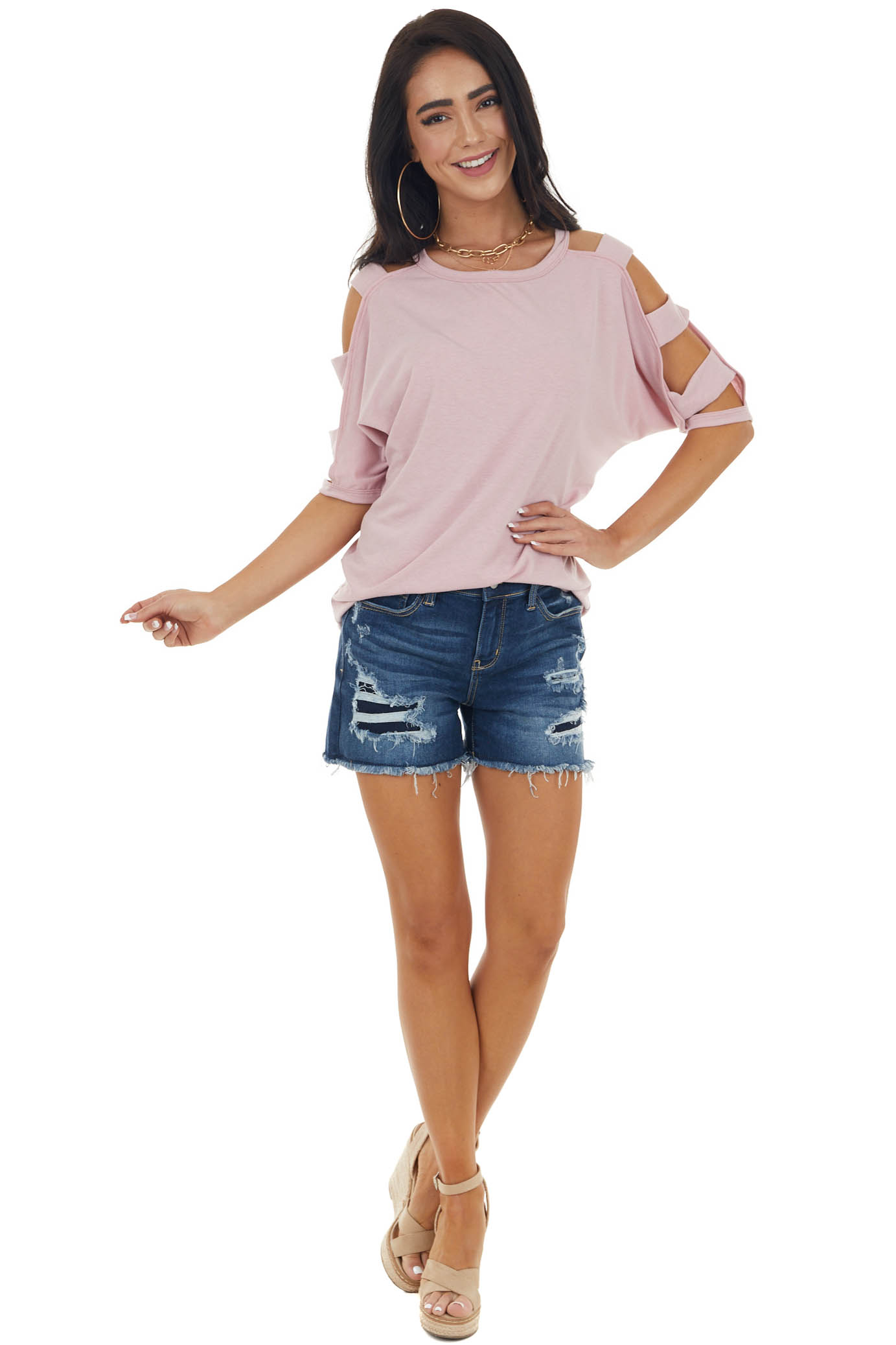 Dusty Blush Knit Top with Ladder Cut Out Half Length Sleeves