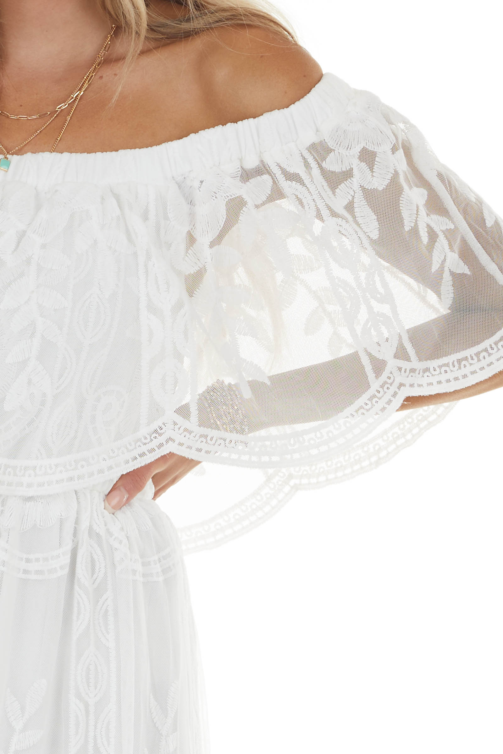Off White Off Shoulder Floral Lace Overlay Maxi Dress