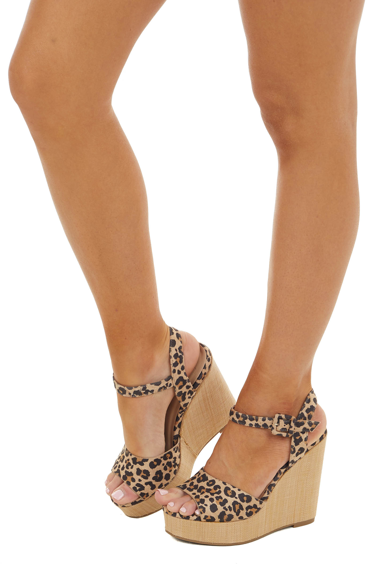 Beige Leopard Print Open Toe Wedge with Ankle Strap