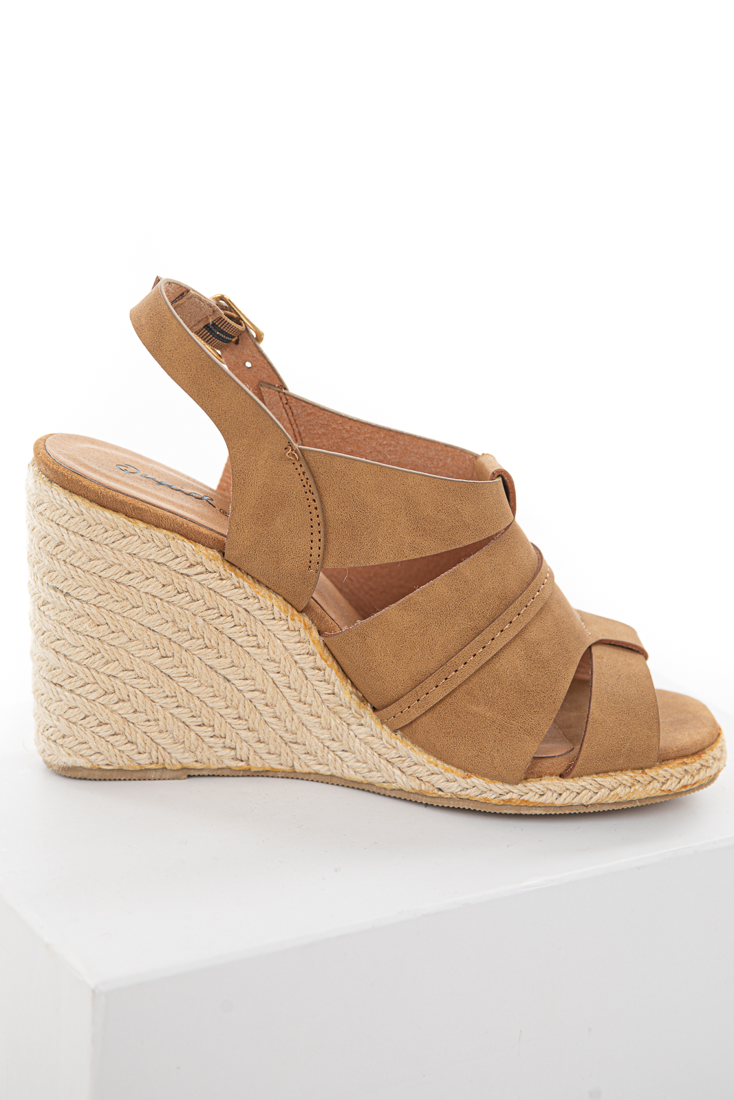 Caramel Espadrille Sandals with Open Toe and Ankle Strap