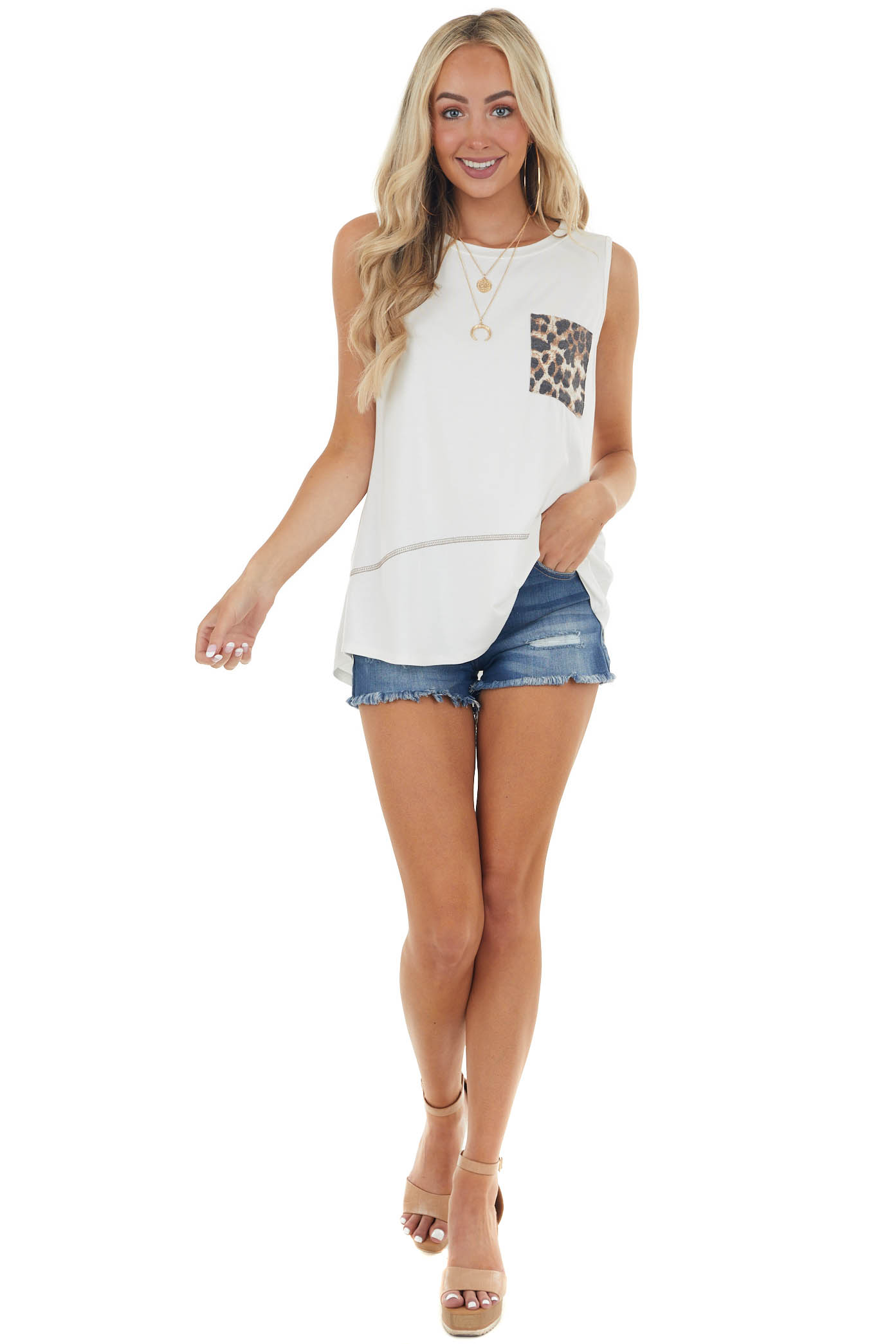 Ivory Sleeveless Knit Top with Leopard Print Chest Pocket