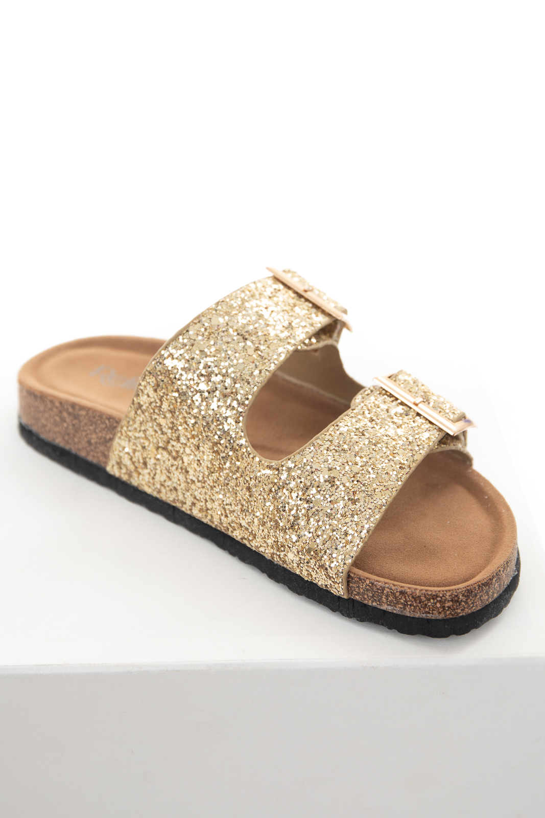 Gold Glitter Open Toe Strap Slip On Sandals with Buckles