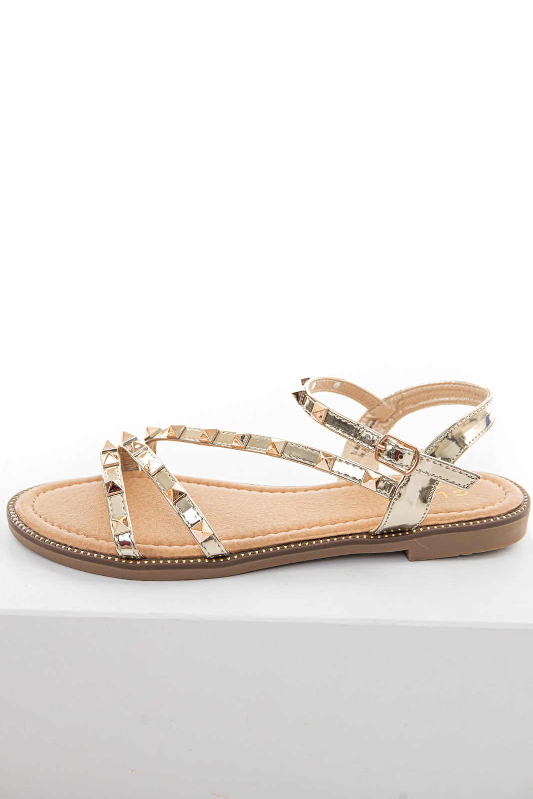 Shiny Gold Studded Strappy Open Toe Sandals with Buckle