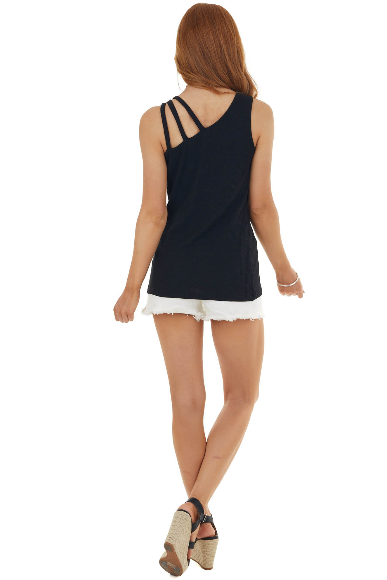 Black Strappy Fitted Sleeveless Ribbed Knit Tank Top