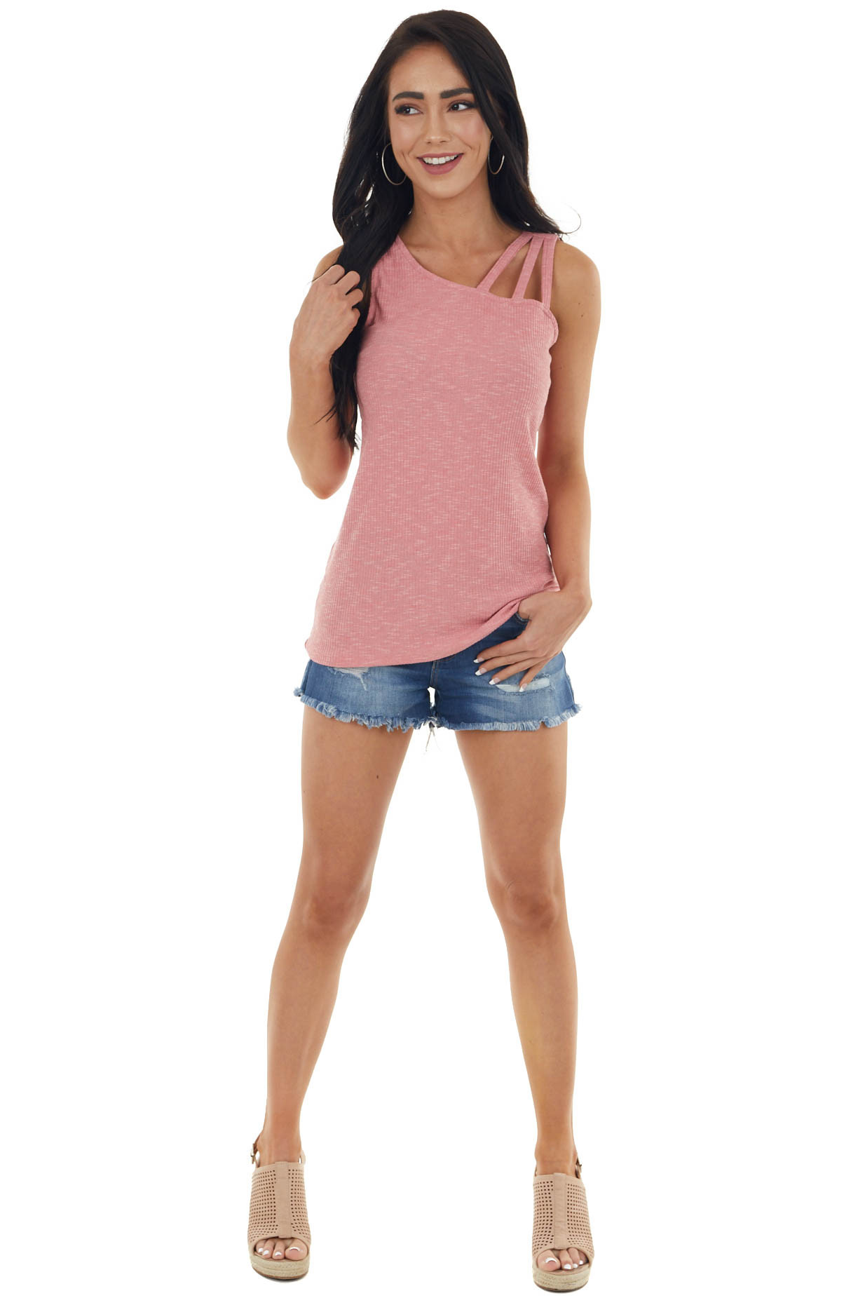 Rose Strappy Fitted Sleeveless Ribbed Knit Tank Top