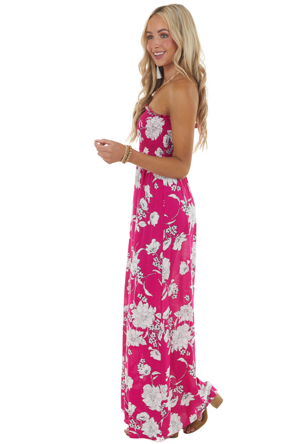 Rich Raspberry Floral Print Maxi Dress with Smocked Bodice