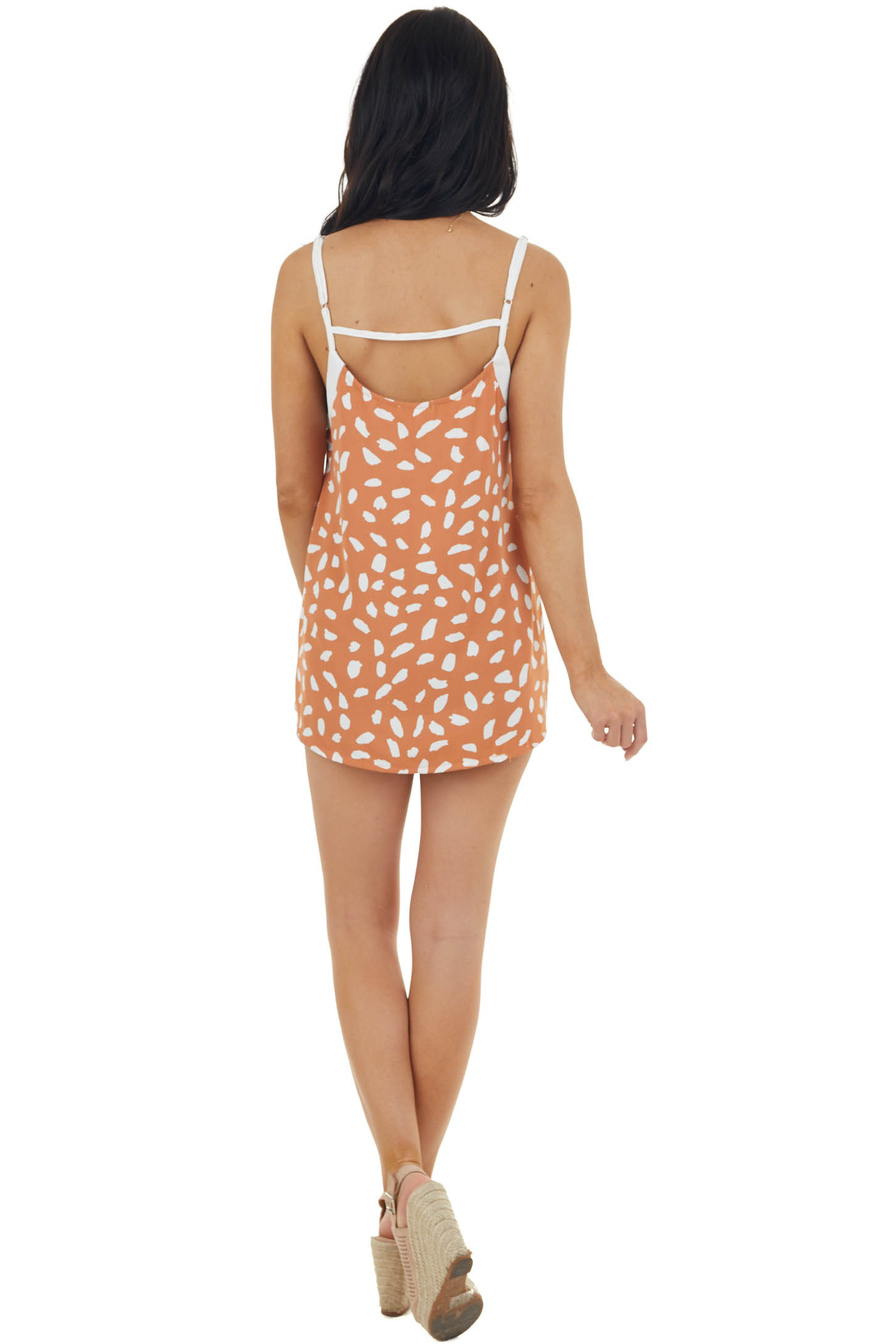 Copper and Ivory Cheetah Print Sleeveless Woven Tank Top