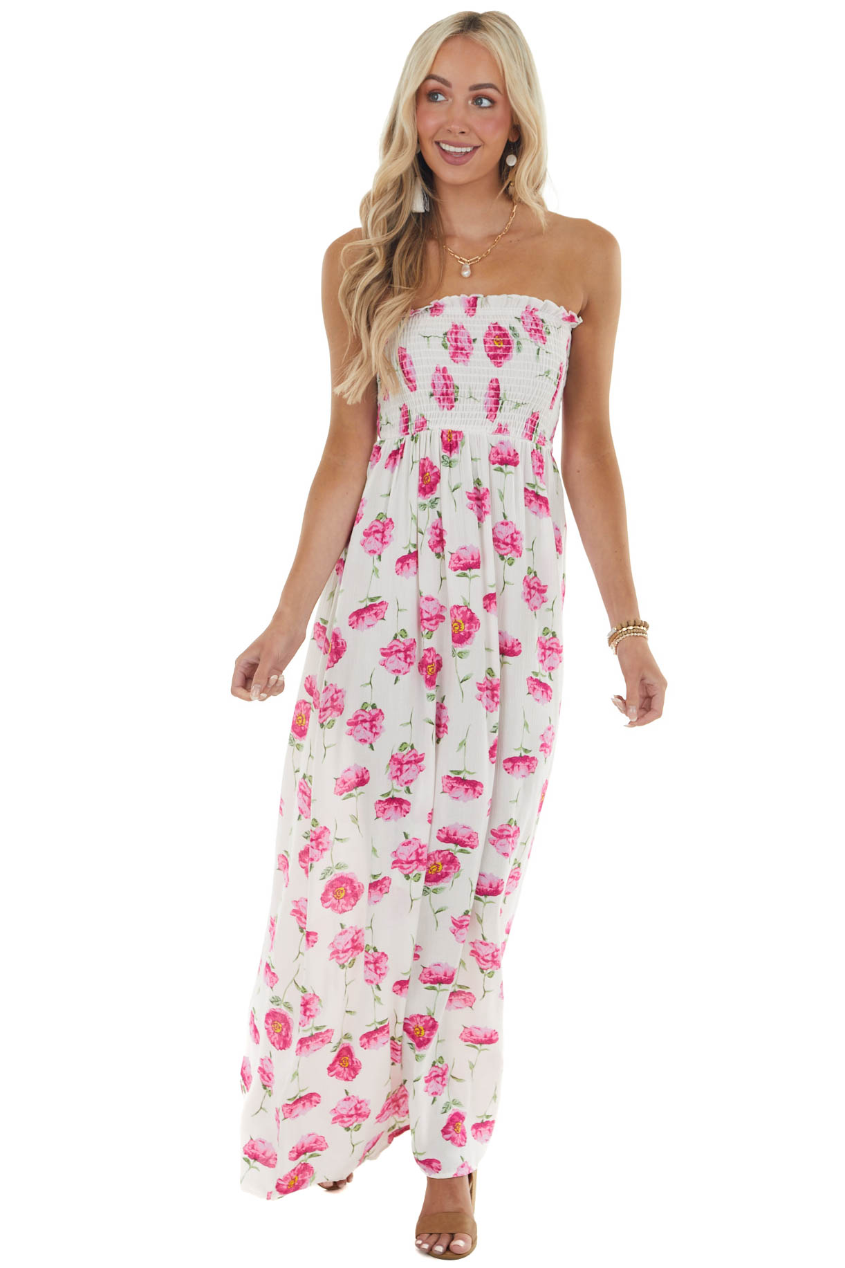 Blush Pink Floral Print Maxi Dress with Smocked Bodice