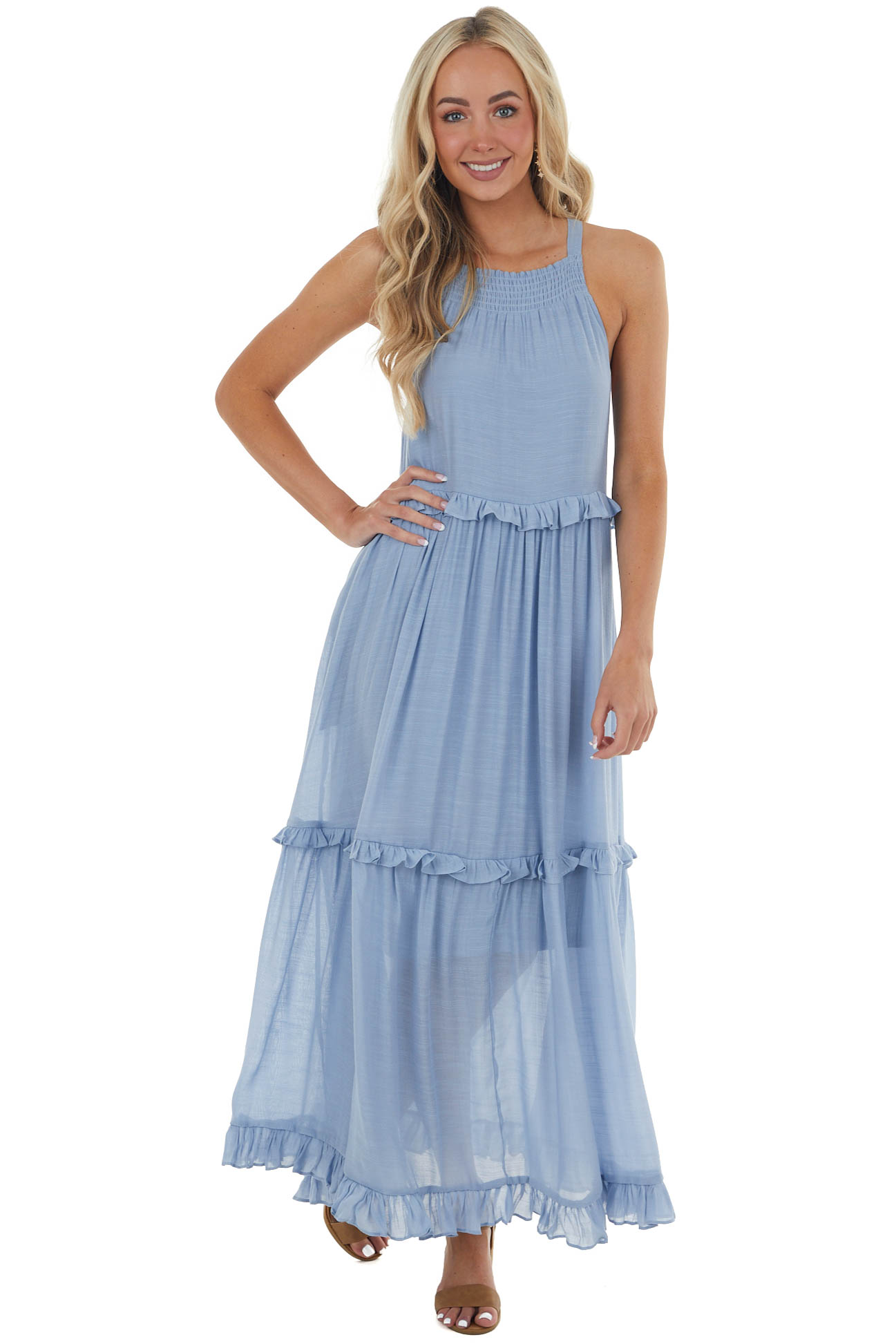 Powder Blue Tiered Halter Neck Woven Maxi Dress with Keyhole
