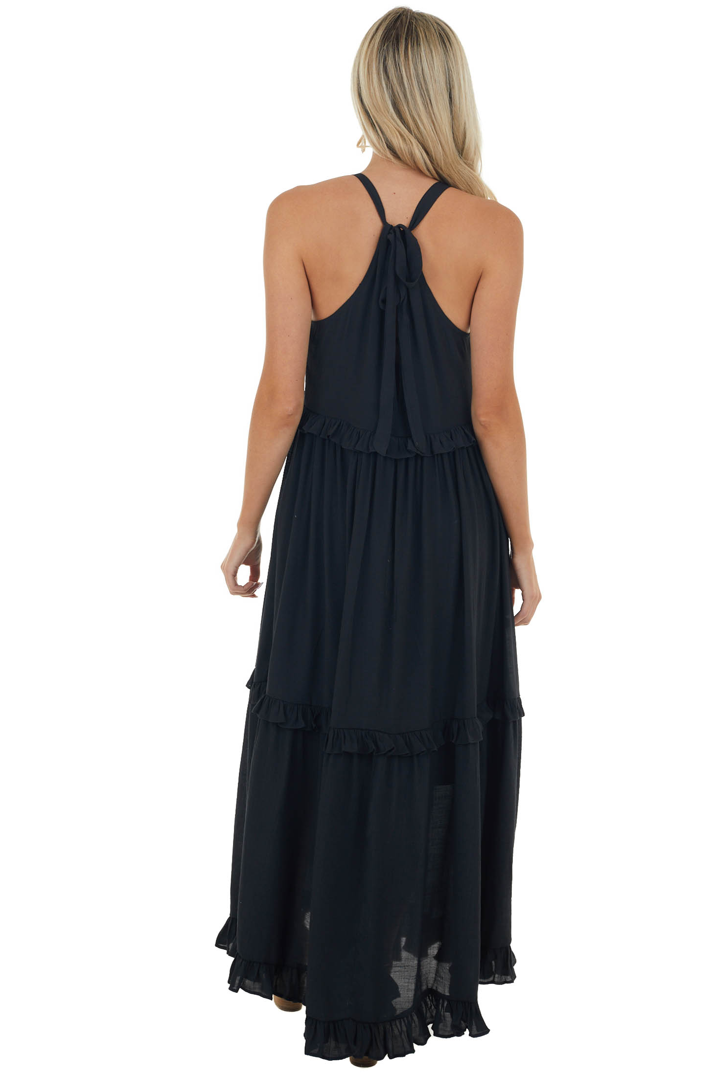 Black Tiered Halter Neck Woven Maxi Dress with Keyhole