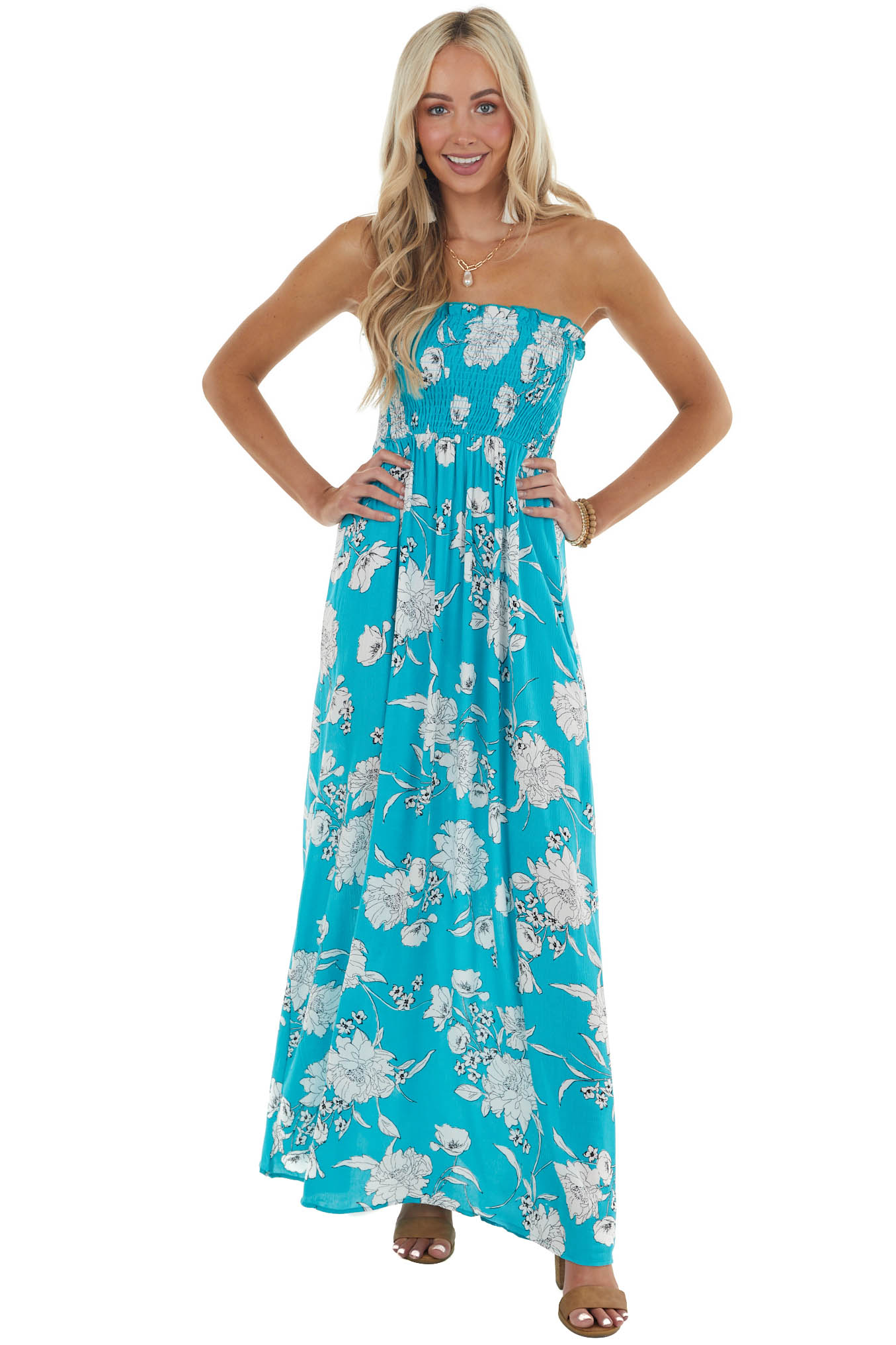 Teal Blue Floral Print Maxi Dress with Smocked Bodice