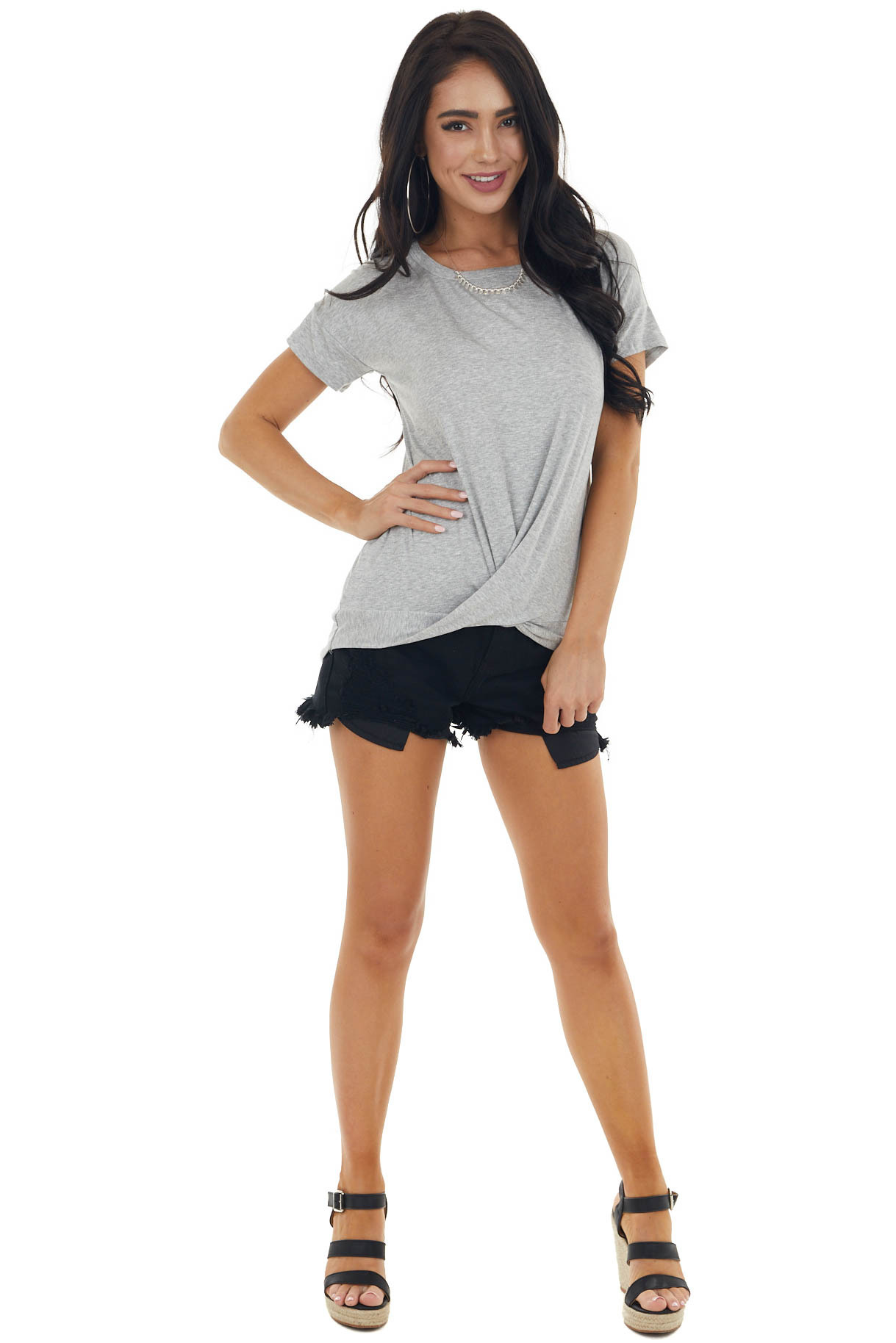 Heather Grey Short Sleeve Knit Top with Front Twist Detail