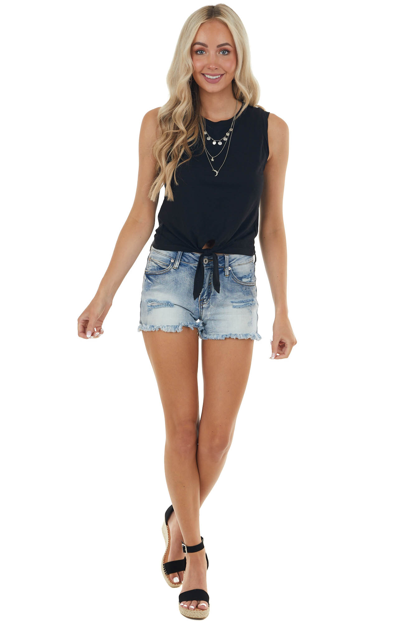 Black Sleeveless Stretchy Knit Top with Front Tie Detail